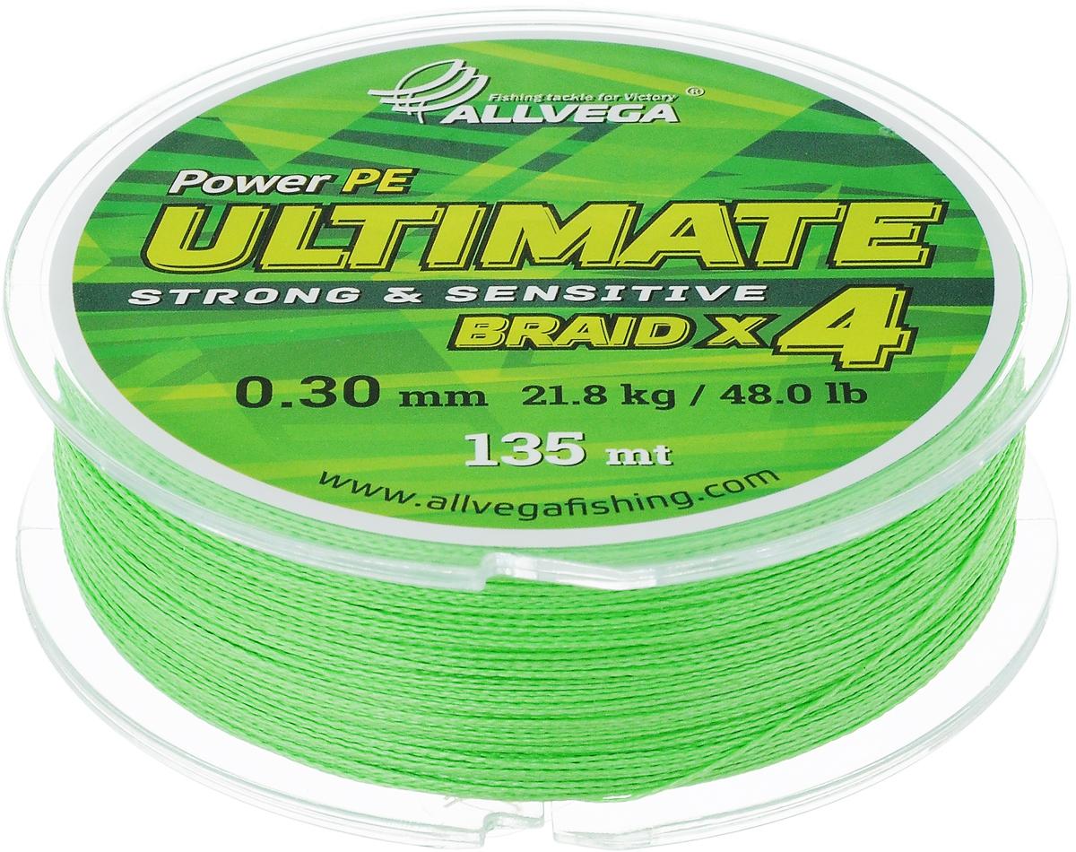 Леска плетеная Allvega Ultimate, цвет: светло-зеленый, 135 м, 0,30 мм, 21,8 кг59291Леска Allvega Ultimate с гладкой поверхностью и одинаковым сечением по всей длине обладает высокой износостойкостью. Леска изготовлена из высокотехнологичного материала (Power РЕ) методом плетения 4 прядей, покрытых специальным полимерным составом. Основными положительными качествами лески Allvega Ultimate являются: устойчивость к внешнему воздействию и максимальная чувствительность при поклевке, что обусловлено почти нулевой растяжимостью. Данные показатели крайне важны при ловле на бровках и в корягах. А круглая и гладкая поверхность лески обеспечивает ровную и плотную укладку на шпуле катушки, что позволяет делать дальний и точный заброс, делая леску универсальной для ловли любым видом спиннинга. Леску Allvega Ultimate можно применять в любых типах водоемов. Особенности: повышенная износостойкость; высокая чувствительность - коэффициент растяжения близок к нулю; идеально гладкая поверхность позволяет увеличить дальность забросов; ...