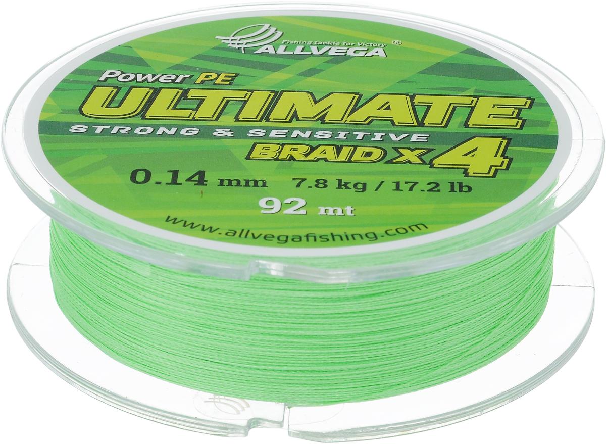 Леска плетеная Allvega Ultimate, цвет: светло-зеленый, 92 м, 0,14 мм, 7,8 кг59261Леска Allvega Ultimate с гладкой поверхностью и одинаковым сечением по всей длине обладает высокой износостойкостью. Леска изготовлена из высокотехнологичного материала (Power РЕ) методом плетения 4 прядей, покрытых специальным полимерным составом. Основными положительными качествами лески Allvega Ultimate являются: устойчивость к внешнему воздействию и максимальная чувствительность при поклевке, что обусловлено почти нулевой растяжимостью. Данные показатели крайне важны при ловле на бровках и в корягах. А круглая и гладкая поверхность лески обеспечивает ровную и плотную укладку на шпуле катушки, что позволяет делать дальний и точный заброс, делая леску универсальной для ловли любым видом спиннинга. Леску Allvega Ultimate можно применять в любых типах водоемов. Особенности: повышенная износостойкость; высокая чувствительность - коэффициент растяжения близок к нулю; идеально гладкая поверхность позволяет увеличить дальность забросов; ...