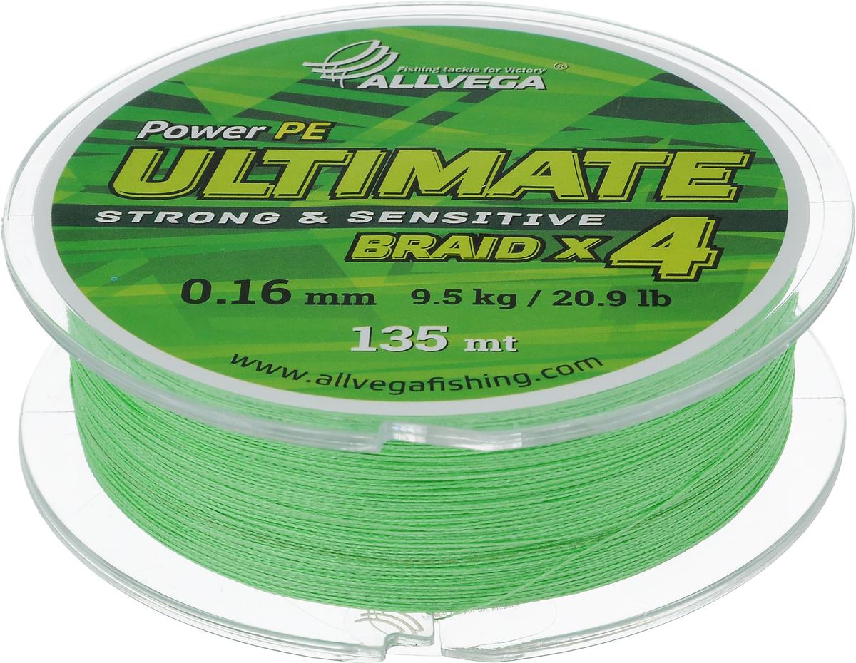 Леска плетеная Allvega Ultimate, цвет: светло-зеленый, 135 м, 0,16 мм, 9,5 кг59284Леска Allvega Ultimate с гладкой поверхностью и одинаковым сечением по всей длине обладает высокой износостойкостью. Леска изготовлена из высокотехнологичного материала (Power РЕ) методом плетения 4 прядей, покрытых специальным полимерным составом. Основными положительными качествами лески Allvega Ultimate являются: устойчивость к внешнему воздействию и максимальная чувствительность при поклевке, что обусловлено почти нулевой растяжимостью. Данные показатели крайне важны при ловле на бровках и в корягах. А круглая и гладкая поверхность лески обеспечивает ровную и плотную укладку на шпуле катушки, что позволяет делать дальний и точный заброс, делая леску универсальной для ловли любым видом спиннинга. Леску Allvega Ultimate можно применять в любых типах водоемов. Особенности: повышенная износостойкость; высокая чувствительность - коэффициент растяжения близок к нулю; идеально гладкая поверхность позволяет увеличить дальность забросов; ...