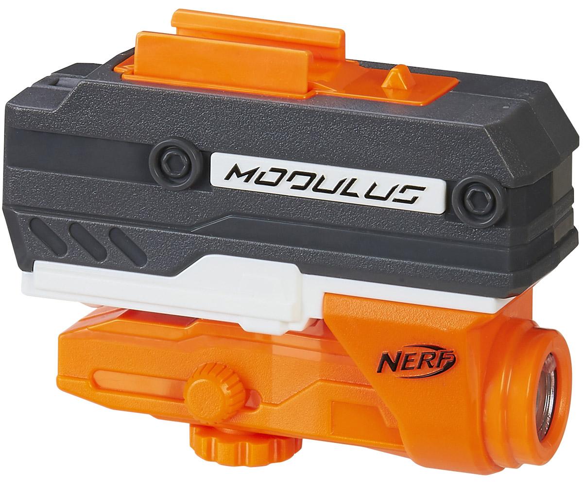 Nerf Аксессуар для бластеров Лазерный прицелB6231EU4_B7170Аксессуар для бластеров Лазерный прицел выполнен из яркого прочного пластика. Прицел делает игру с оружием ещё более динамичной и захватывающей. Аксессуар фиксируется на любой крепежной рейке оружия. Аксессуар подходят для бластеров серии N-Strike Modulus. Для работы требуются 3 батарейки типа ААА (не входят в комплект).