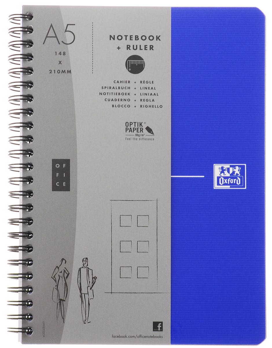 Oxford Тетрадь Essentials 90 листов в клетку цвет синий822566_синийСтильная практичная тетрадь Oxford Essentials отлично подойдет для офиса и учебы. Тетрадь формата А5 состоит из 90 белых листов с четкой яркой линовкой в клетку. Обложка тетради выполнена из ламинированного картона и оформлена символом Оксфордского университета. Металлический гребень надежно удерживает листы. Также тетрадь имеет скругленные углы и гибкую съемную закладку-линейку из матового полупрозрачного пластика с изображением Рима.