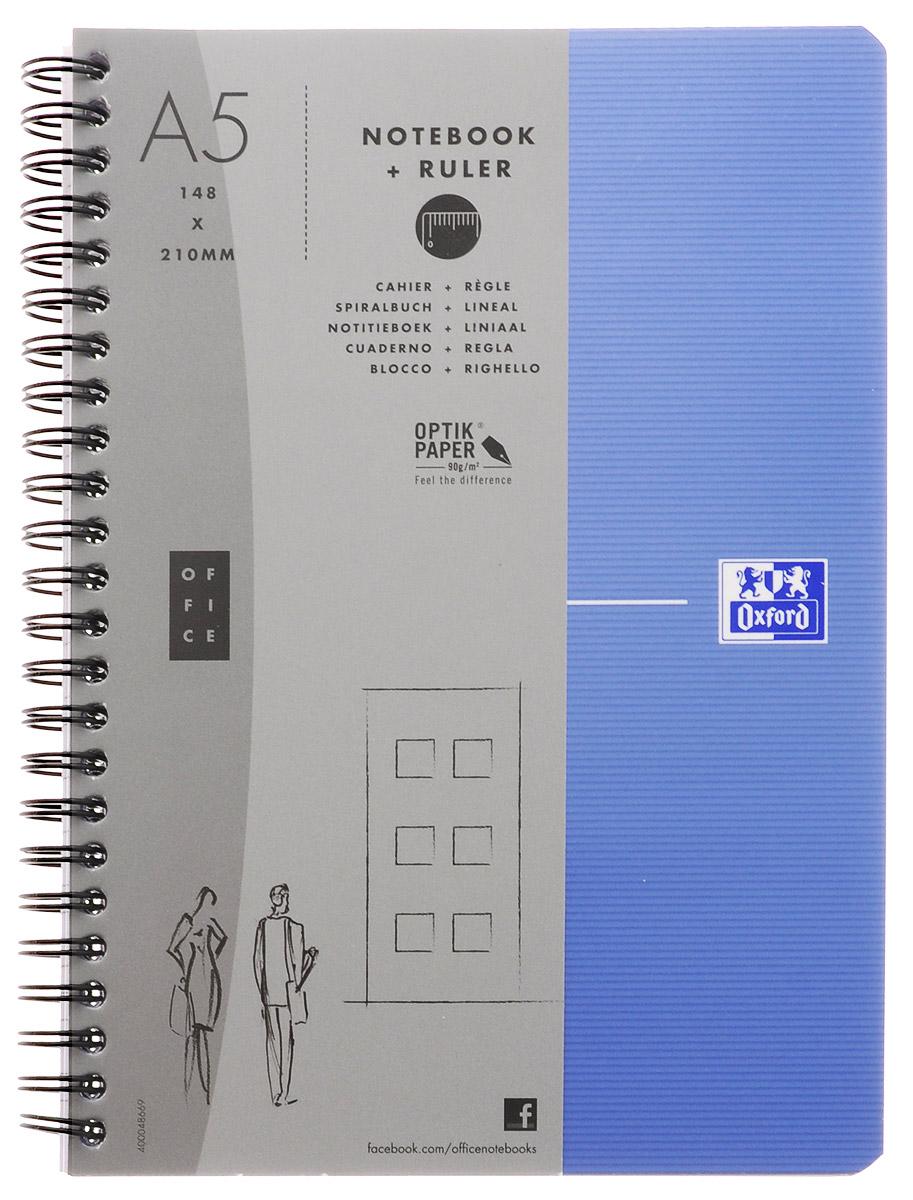 Oxford Тетрадь Essentials 90 листов в клетку цвет голубой822566_голубойСтильная практичная тетрадь Oxford Essentials отлично подойдет для офиса и учебы. Тетрадь формата А5 состоит из 90 белых листов с четкой яркой линовкой в клетку. Обложка тетради выполнена из ламинированного картона и оформлена символом Оксфордского университета. Металлический гребень надежно удерживает листы. Также тетрадь имеет скругленные углы и гибкую съемную закладку-линейку из матового полупрозрачного пластика с изображением Рима.