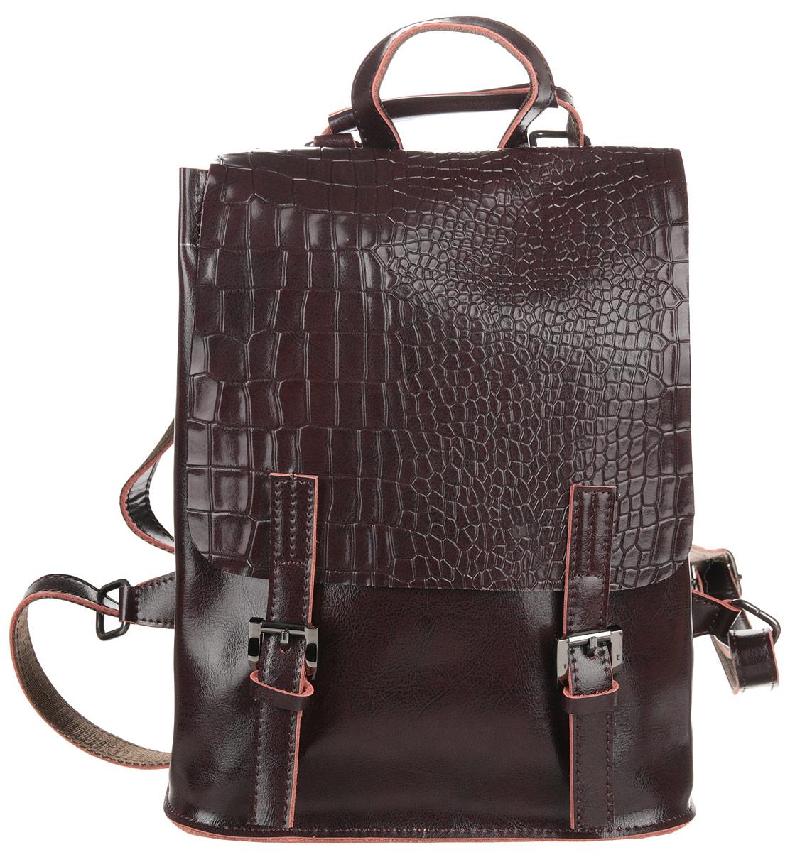 Рюкзак женский Flioraj, цвет: коричневый. 0005265900052659Рюкзак закрывается на декоративный клапан внутри одно отделение.