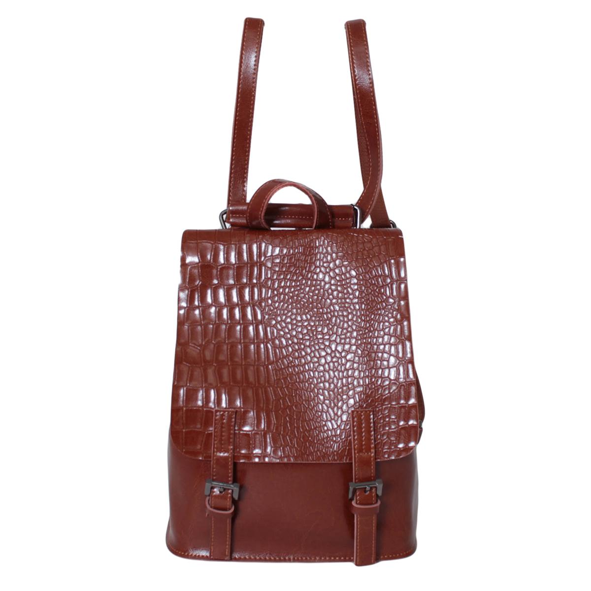 Рюкзак женский Flioraj, цвет: коричневый. 0005291000052910Рюкзак закрывается на декоративный клапан внутри одно отделение.