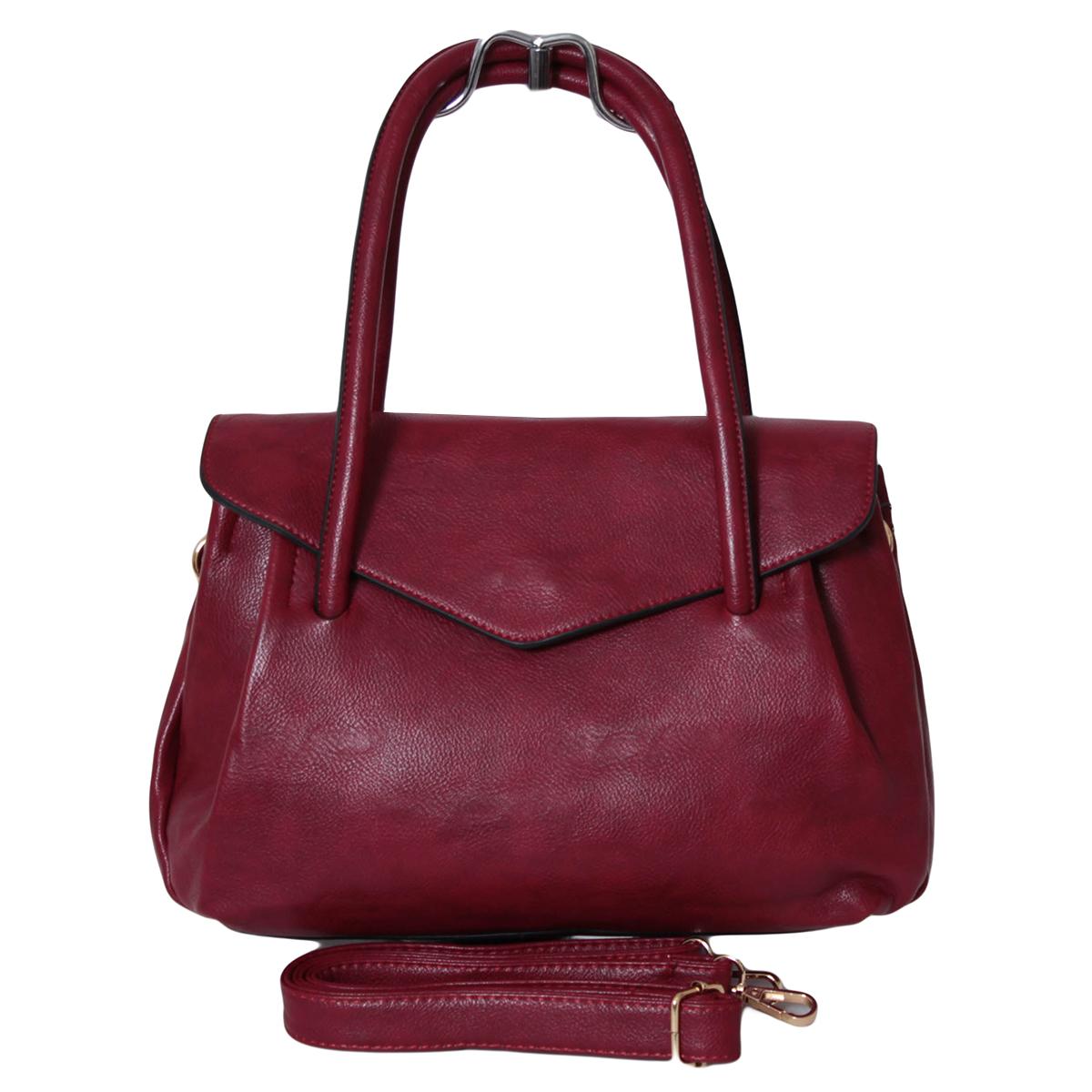 Сумка женская Flioraj, цвет: красный. 0005291500052915Закрывается на декоративный клапан. Внутри три отделения, один карман на молнии. Высота ручек 19 см. В комплекте длинный ремень.