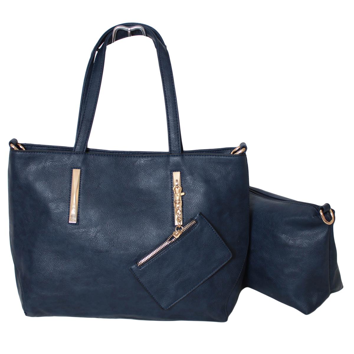Сумка женская Flioraj, цвет: синий. 0005292600052926Закрывается на молнию. Внутри одно отделение, один карман на молнии и два открытых. В комплекте косметичка, кошелек для мелочи и длинный ремень.
