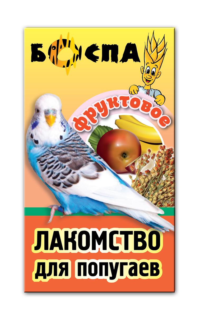 Лакомство для попугаев с фруктами 3 в 1 Боспа Груша, 100 гЕ385Лакомство для домашних животных, дополнение к полнорационному корму