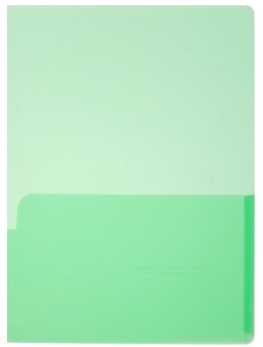 Бюрократ Папка-уголок с карманами цвет зеленый