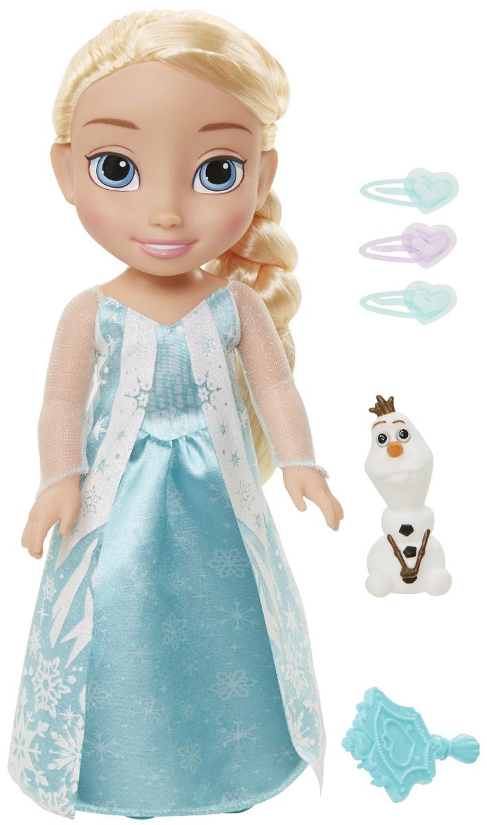 Disney Frozen Кукла Принцесса-малышка Эльза и Олаф310190_ElsaКукла Disney Frozen Малышка Эльза непременно понравится вашей дочурке. Кукла с необыкновенно большими и выразительными глазками выполнена из безопасного материала. Одета малышка Эльза в голубое платье, усыпанное блестками и снежинками. На ножках принцессы - голубые туфельки. У куклы шикарные белые локоны, заплетенные в косичку. В комплект входят фигурка в виде снеговика Олафа, расческа и три заколки. Такая куколка очарует вас и вашу дочурку с первого взгляда! Ваша малышка с удовольствием будет играть с Эльзой, проигрывая сюжеты из мультфильма или придумывая различные истории. Порадуйте свою дочурку таким замечательным подарком!