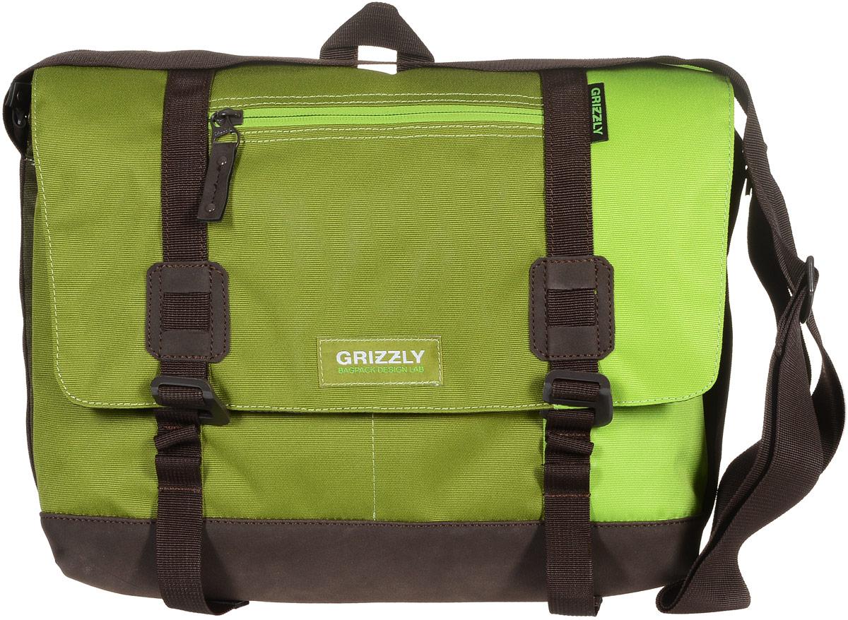 Сумка молодежная Grizzly, цвет: салатовый, зеленый, хаки, 14 л. ММ-619-3/2ММ-619-3/2Молодежная сумка Grizzly изготовлена из высококачественного плотного текстиля. Дно уплотнено материалом из экокожи. Сумка имеет одно отделение, которое закрывается на клапан с застежками-крючками, регулируемыми по высоте, и застежку-молнию. Внутри сумки расположен карман для ноутбука или планшета, а также вшитый карман на застежке-молнии. Снаружи, с фронтальной стороны сумки есть один прорезной карман на застежке-молнии и два открытых кармашка. На клапане также располагается прорезной карман на застежке-молнии, и с тыльной стороны - боковой карман на застежке-молнии. Изделие оснащено дополнительной ручкой-петлей и регулируемым плечевым ремнем. Самовыражение - одна из базовых потребностей современного человека. Оригинальные, яркие, остромодные рюкзаки от Grizzly наилучшим образом подчеркнут вашу креативность, индивидуальность и неповторимый стиль!