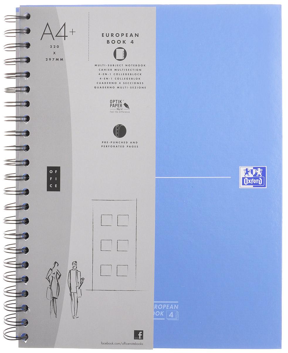 Oxford Тетрадь Officе European Book 120 листов в клетку цвет синий100104738, 817869_синийКрасивая и практичная тетрадь Oxford Officе European Book отлично подойдет для школьников, студентов и офисных служащих. Тетрадь формата А4+ состоит из 120 белых листов с четкой линовкой в клетку. Обложка тетради выполнена из жесткого ламинированного картона, благодаря чему все ваши записи и заметки всегда будут в сохранности. Листы крепятся на двойной металлический гребень. На каждом листе есть возможность проставления даты, номера страницы или записи темы. Тетрадь состоит из 4 разделов с цветными пластиковыми разделителями. Разделители можно легко вынуть или переставить благодаря удобному креплению на гребне. В тетради предусмотрена страница снабженная карманом из плотного картона для хранения листов.