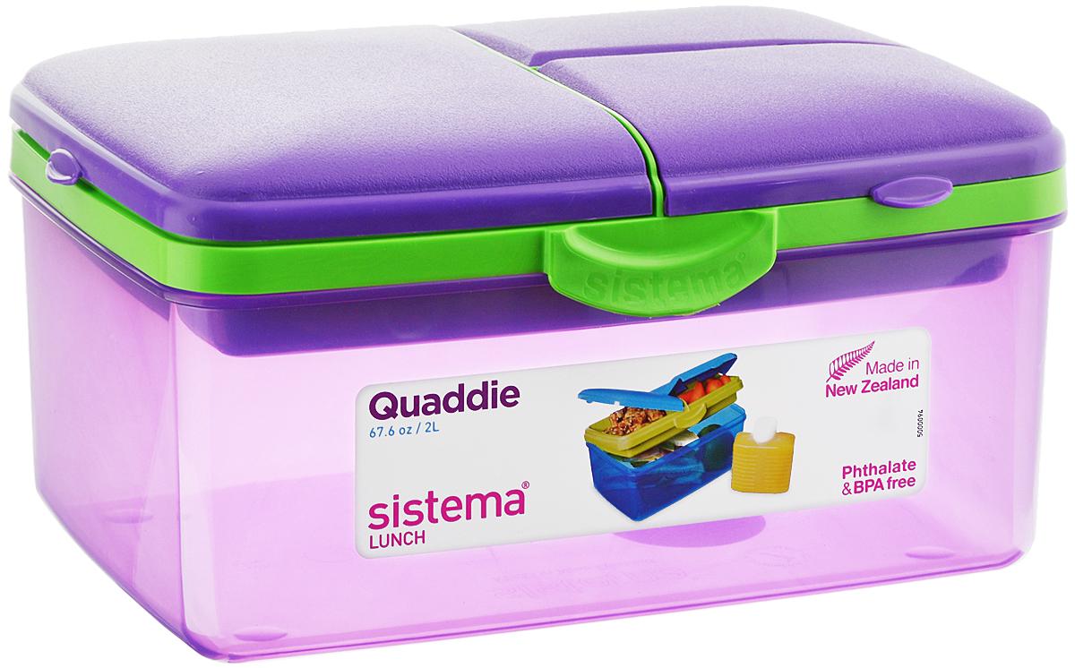 Ланч-бокс Sistema TO-GO, 4 секции, с бутылкой, цвет: фиолетовый, салатовый, 2 л3970С6_фиолетовыйКонтейнер Sistema TO-GO имеет 4 отделения для хранения и транспортировки бутербродов, порционных салатов, мяса или рыбы, горячих и холодных блюд. Ланч-бокс для детей и взрослых позволяет взять даже сложный обед, из нескольких блюд, в одном компактном контейнере. Контейнер надежно закрывается клипсами. Удобная маленькая бутылка позволит взять с собой воду или любимый напиток. Ланч-бокс состоит из большого, среднего и двух маленьких отделений. Размеры большого отделения: 21 х 14 х 9 см. Размеры среднего отделения: 12 х 9,5 х 3,5 см. Размеры одного маленького отделения: 9,5 х 6 х 3,5 см. Объем бутылки: 250 мл.