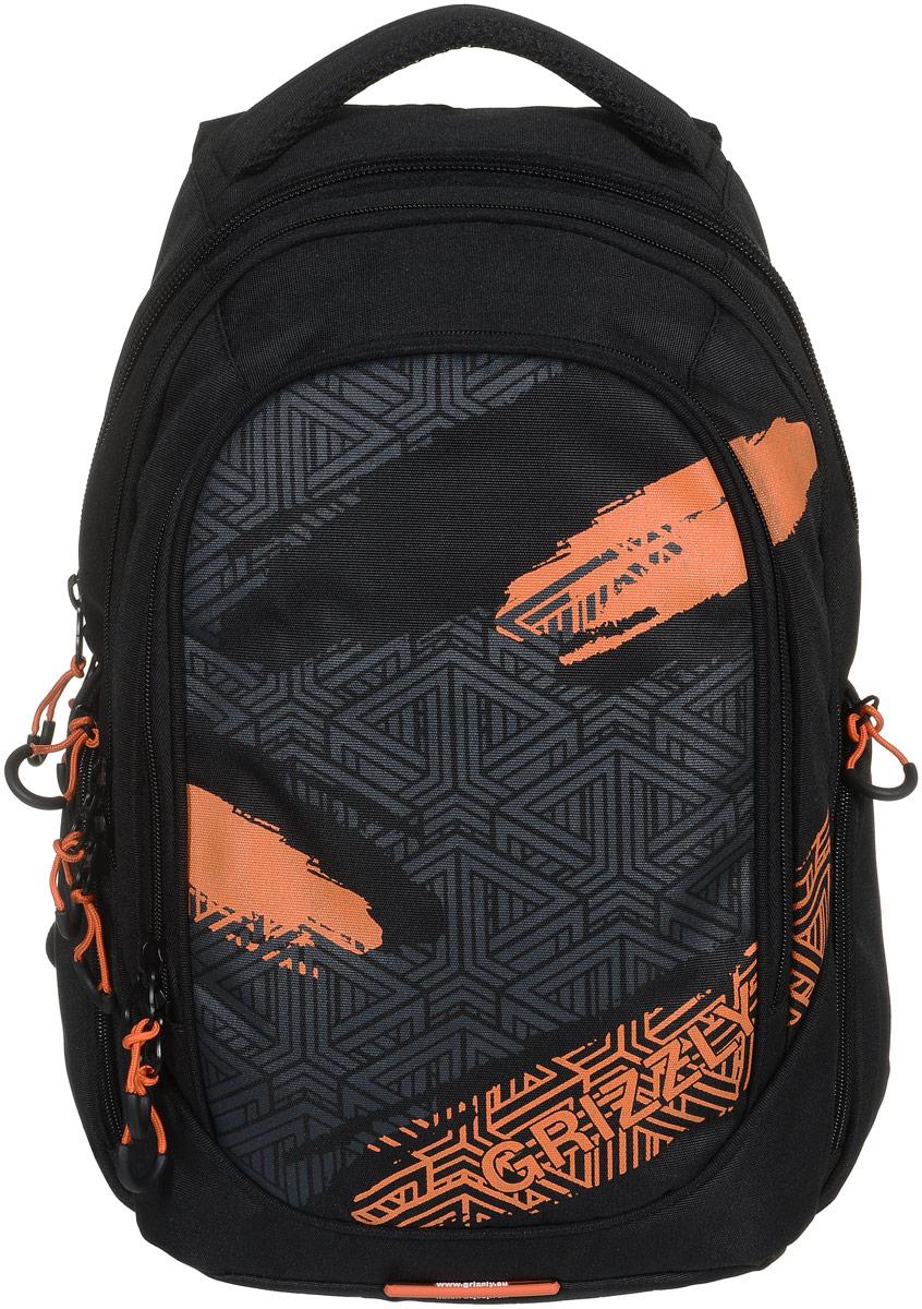 Рюкзак молодежный Grizzly, цвет: черный, оранжевый, 32 л. RU-712-1/4RU-712-1/4Молодежный рюкзак Grizzly выполнен из высококачественного таслана. Рюкзак имеет три отделения, закрывающиеся на круговые застежки-молнии с двумя бегунками. Внутри первого отделения расположен составной пенал-органайзер, который включает в себя три открытых кармашка для канцелярских принадлежностей и сетчатый карман на застежке-молнии. В третьем отделении расположен укрепленный мягкий карман для планшета, который также дополнен прорезным карманом на застежке-молнии. Снаружи, по бокам рюкзака расположены два объемных кармана на застежках-молниях. Изделие оснащено укрепленной спинкой, анатомическими лямками, которые регулируются по длине, и укрепленной ручкой для удобства переноски. Самовыражение - одна из базовых потребностей современного человека. Оригинальные, яркие, остромодные рюкзаки от Grizzly наилучшим образом подчеркнут вашу креативность, индивидуальность и неповторимый стиль!