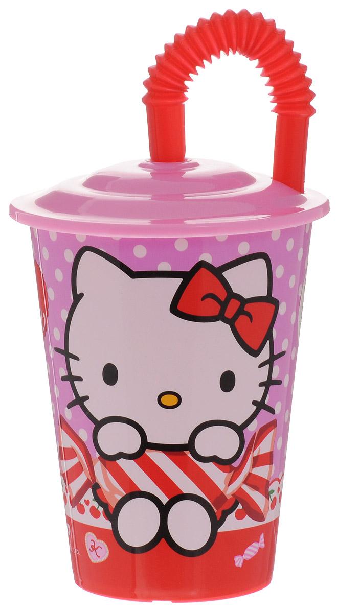 Hello Kitty Бокал с крышкой и трубочкой 450 мл