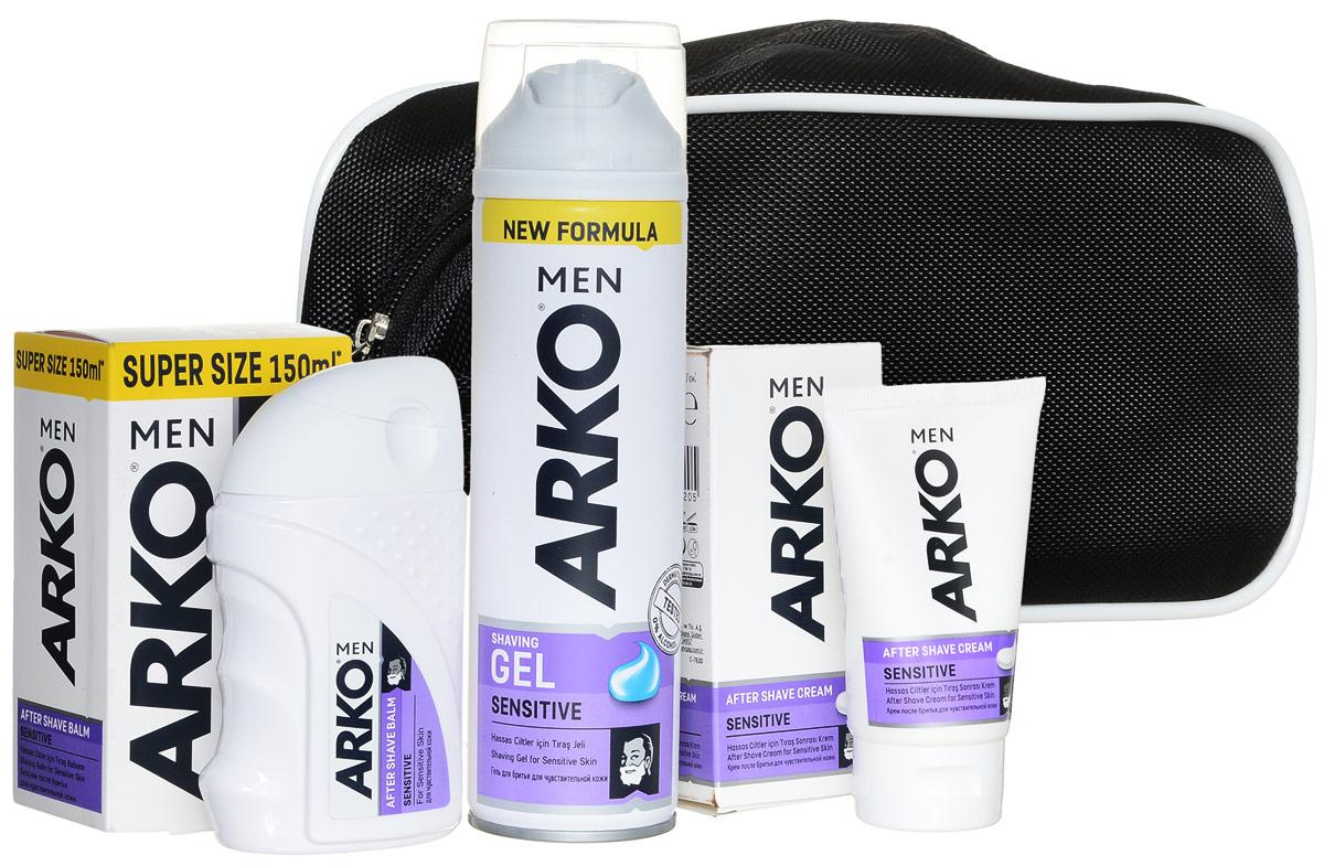 Arko Sensitive: Гель д/бр + бальзам + крем п/бритья+ косметичка (в подарок)