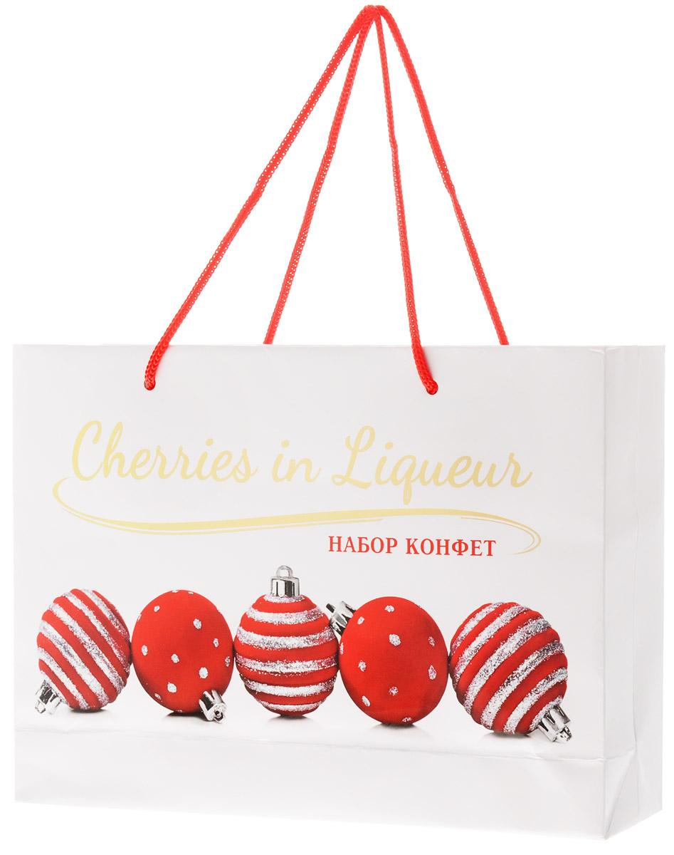 Vobro Love & Cherry Новый год конфеты в подарочном пакете, 290 г15931Vobro Love & Cherry - набор шоколадных конфет с начинкой. Каждая конфетка изготовлена из натурального настоящего шоколада, с начинкой из вишни в ликере, конечно без косточки. Кроме превосходных вкусовых качеств стоит должным образом оценить эксклюзивный вид шоколадок – это твердый, сияющий шоколад в форме сердца, каждый обернутый алюминиевой фольгой, и аккуратно уложенные в красивой подарочной коробке. Удобная и красочная упаковка делают эти конфеты не только прекрасным лакомством, но и отличным подарком для своих близких.