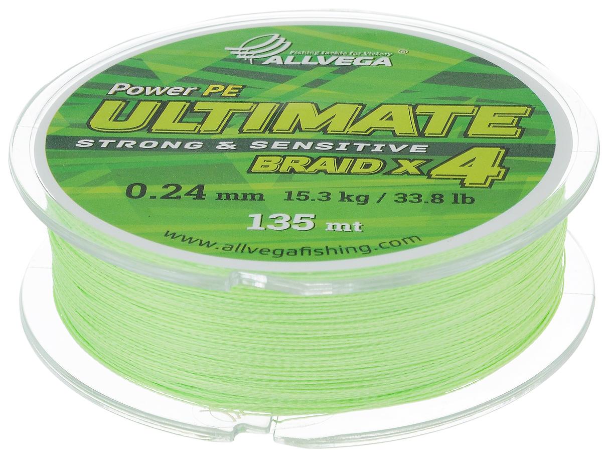Леска плетеная Allvega Ultimate, цвет: желто-зеленый, 135 м, 0,24 мм, 15,3 кг59288Леска Allvega Ultimate с гладкой поверхностью и одинаковым сечением по всей длине обладает высокой износостойкостью. Леска изготовлена из высокотехнологичного материала (Power РЕ) методом плетения 4 прядей, покрытых специальным полимерным составом. Основными положительными качествами лески Allvega Ultimate являются: устойчивость к внешнему воздействию и максимальная чувствительность при поклевке, что обусловлено почти нулевой растяжимостью. Данные показатели крайне важны при ловле на бровках и в корягах. А круглая и гладкая поверхность лески обеспечивает ровную и плотную укладку на шпуле катушки, что позволяет делать дальний и точный заброс, делая леску универсальной для ловли любым видом спиннинга. Леску Allvega Ultimate можно применять в любых типах водоемов. Особенности: повышенная износостойкость; высокая чувствительность - коэффициент растяжения близок к нулю; идеально гладкая поверхность позволяет увеличить дальность забросов; ...