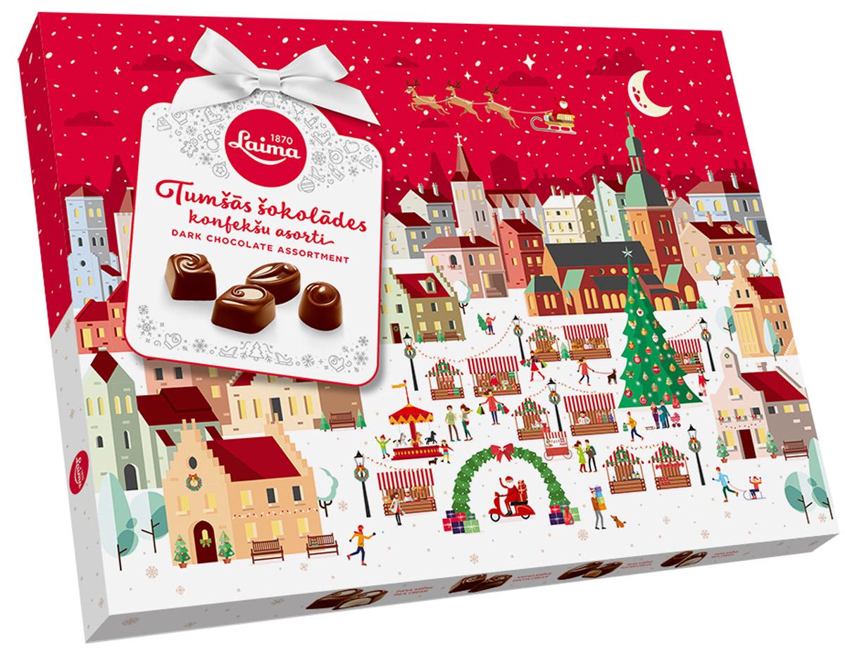 Laima Новогоднее Ассорти конфет в темном шоколаде, 720 гP140107113Ассорти 720 грамм-Огромная полностью заполненная коробка конфет в темном шоколаде 4 разные формы 3 начинки-молочный крем, крем-какао, крем-ирис-тоффи