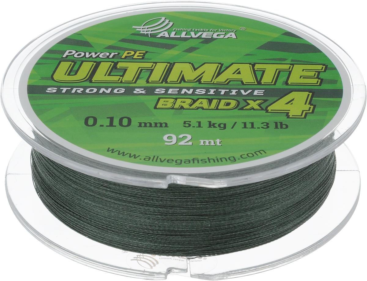 Леска плетеная Allvega Ultimate, цвет: темно-зеленый, 92 м, 0,10 мм, 5,1 кг59248Леска Allvega Ultimate с гладкой поверхностью и одинаковым сечением по всей длине обладает высокой износостойкостью. Леска изготовлена из высокотехнологичного материала (Power РЕ) методом плетения 4 прядей, покрытых специальным полимерным составом. Основными положительными качествами лески Allvega Ultimate являются: устойчивость к внешнему воздействию и максимальная чувствительность при поклевке, что обусловлено почти нулевой растяжимостью. Данные показатели крайне важны при ловле на бровках и в корягах. А круглая и гладкая поверхность лески обеспечивает ровную и плотную укладку на шпуле катушки, что позволяет делать дальний и точный заброс, делая леску универсальной для ловли любым видом спиннинга. Леску Allvega Ultimate можно применять в любых типах водоемов. Особенности: повышенная износостойкость; высокая чувствительность - коэффициент растяжения близок к нулю; идеально гладкая поверхность позволяет увеличить дальность забросов; ...