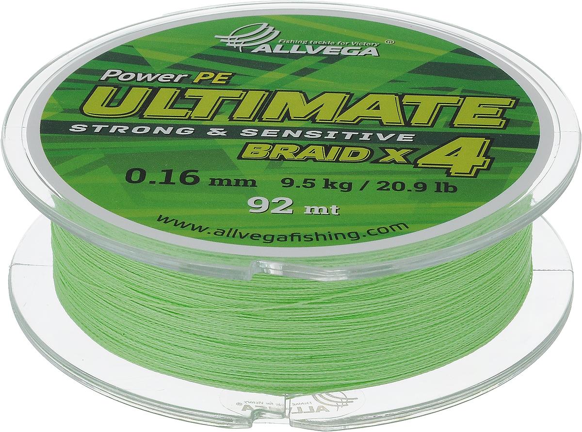 Леска плетеная Allvega Ultimate, цвет: светло-зеленый, 92 м, 0,16 мм, 9,5 кг59262Леска Allvega Ultimate с гладкой поверхностью и одинаковым сечением по всей длине обладает высокой износостойкостью. Леска изготовлена из высокотехнологичного материала (Power РЕ) методом плетения 4 прядей, покрытых специальным полимерным составом. Основными положительными качествами лески Allvega Ultimate являются: устойчивость к внешнему воздействию и максимальная чувствительность при поклевке, что обусловлено почти нулевой растяжимостью. Данные показатели крайне важны при ловле на бровках и в корягах. А круглая и гладкая поверхность лески обеспечивает ровную и плотную укладку на шпуле катушки, что позволяет делать дальний и точный заброс, делая леску универсальной для ловли любым видом спиннинга. Леску Allvega Ultimate можно применять в любых типах водоемов. Особенности: повышенная износостойкость; высокая чувствительность - коэффициент растяжения близок к нулю; идеально гладкая поверхность позволяет увеличить дальность забросов; ...