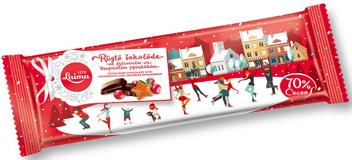 Laima Шоколад горький с кусочками имбирного печенья и клюквы, 220 г