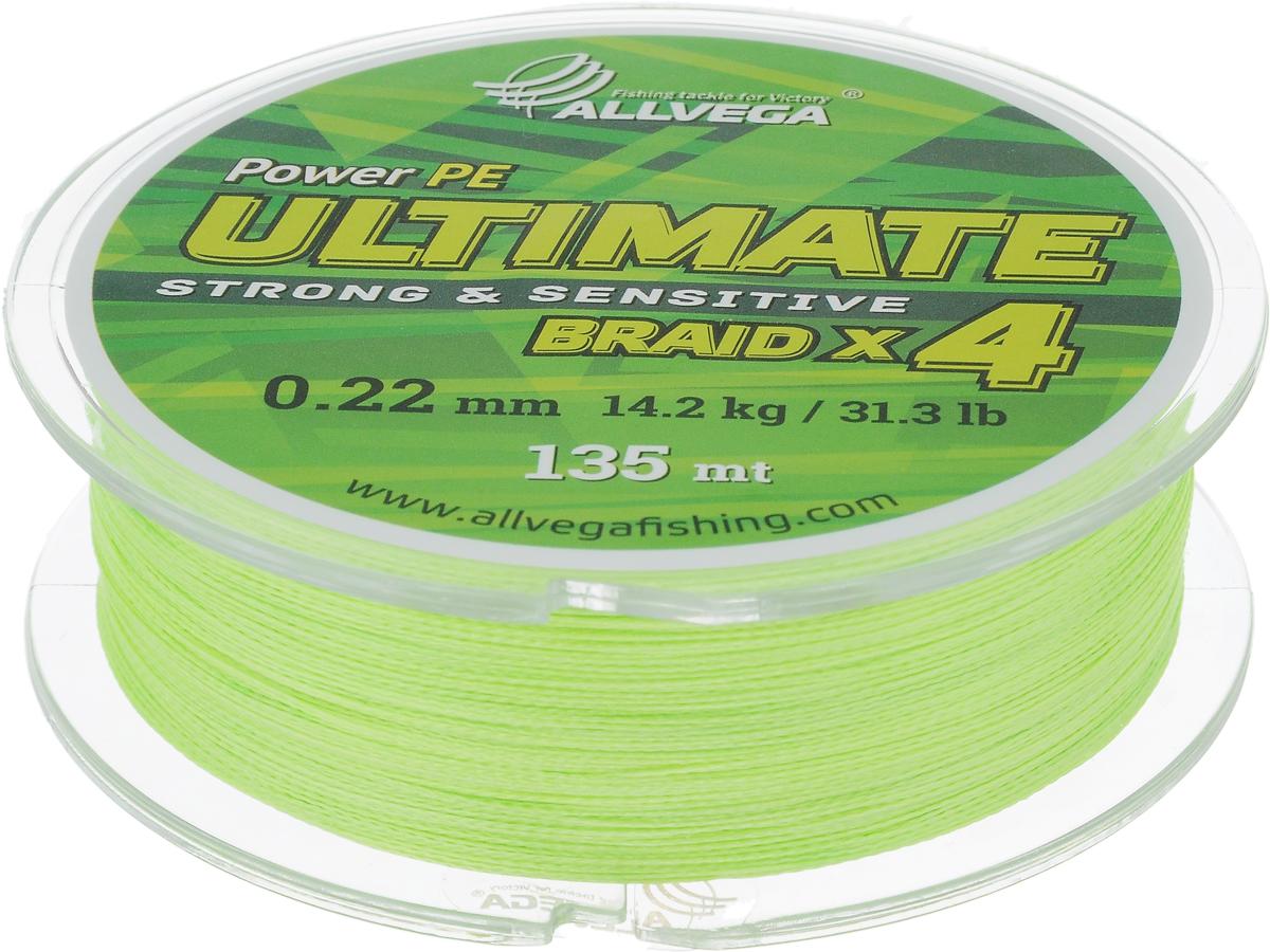 """Леска плетеная Allvega """"Ultimate"""", цвет: желто-зеленый, 135 м, 0,22 мм, 14,2 кг 59287"""
