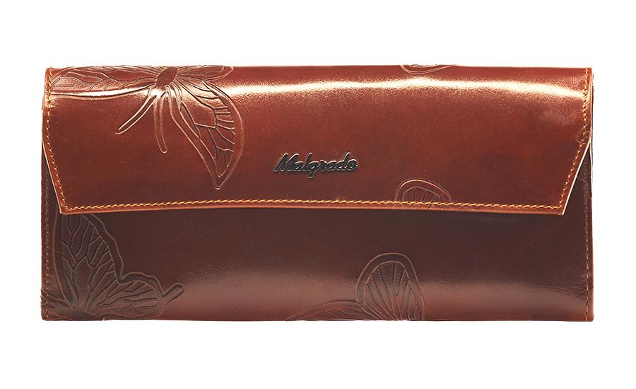 Кошелек женский Malgrado, цвет: коричневый. 75504-7002D75504-7002D Brown Кошелек Бол. MalgradoСтильный кошелек Malgrado выполнен из лаковой натуральной кожи коричневого цвета с декоративным тиснением в виде бабочек, застегивается клапаном на кнопку. Внутри содержит два горизонтальных кармана для бумаг, девять кармашков для кредитных карт, отделение на молнии для мелочи и два отделения для купюр. На задней стороне кошелька расположен открытый кармашек. Кошелек упакован в подарочную металлическую коробку с логотипом фирмы. Такой кошелек станет замечательным подарком человеку, ценящему качественные и практичные вещи.