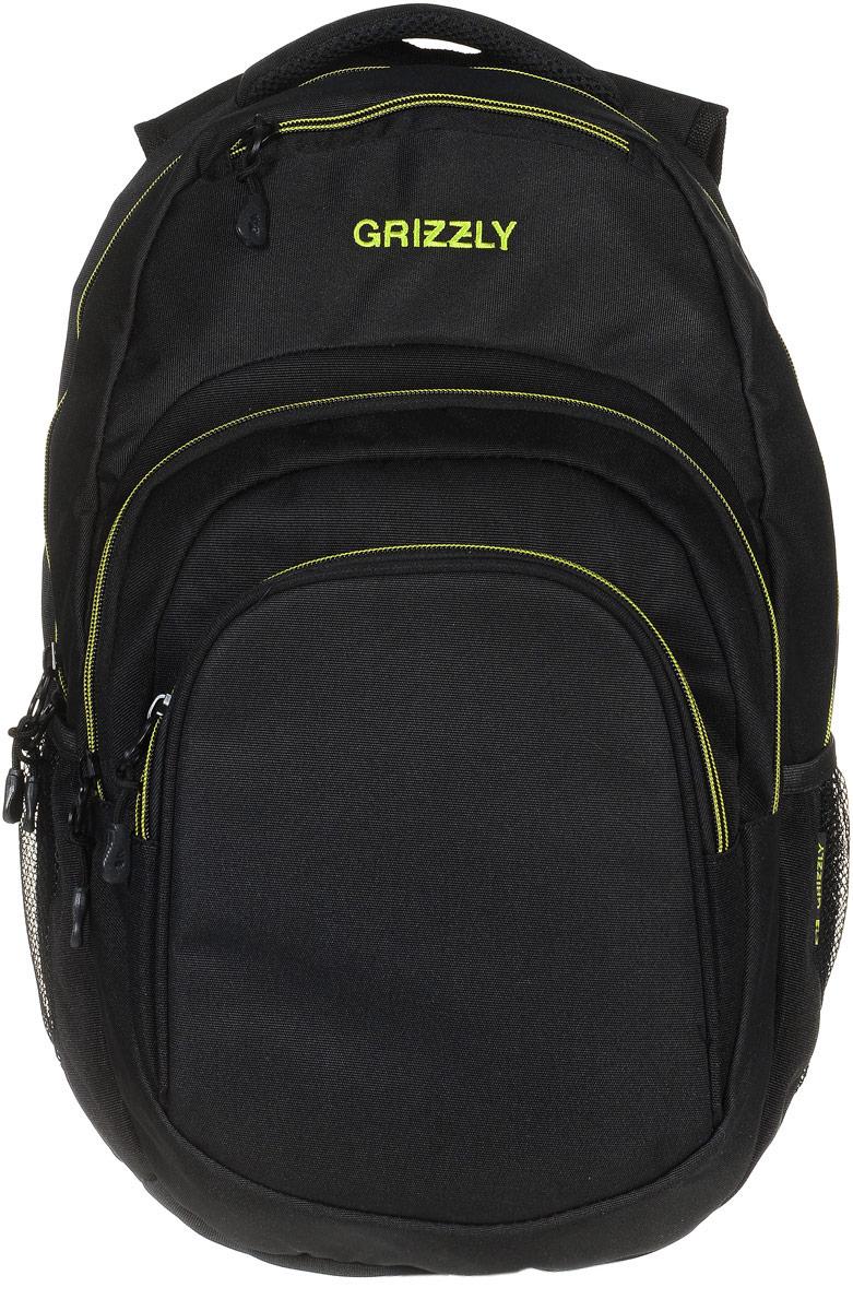 Рюкзак молодежный Grizzly, цвет: черный, салатовый, 32 л. RU-700-1/3RU-700-1/3Молодежный рюкзак Grizzly выполнен из высококачественного таслана и закрывается на круговую застежку-молнию с двумя бегунками. Рюкзак имеет одно основное отделение, в котором расположен мягкий укрепленный карман для планшета, закрывающийся на липучку. Снаружи рюкзака расположены два объемных кармана на застежках-молниях,в одном из которых есть составной пенал-органайзер. Сверху изделие оснащено прорезным карманом на застежке-молнии, а также двумя сетчатыми открытыми карманами по бокам. Рюкзак дополнен укрепленной спинкой, анатомическими лямками, которые регулируются по длине, нагрудной стяжкой-фиксатором, мягкой укрепленной ручкой, Самовыражение - одна из базовых потребностей современного человека. Оригинальные, яркие, остромодные рюкзаки от Grizzly наилучшим образом подчеркнут вашу креативность, индивидуальность и неповторимый стиль!
