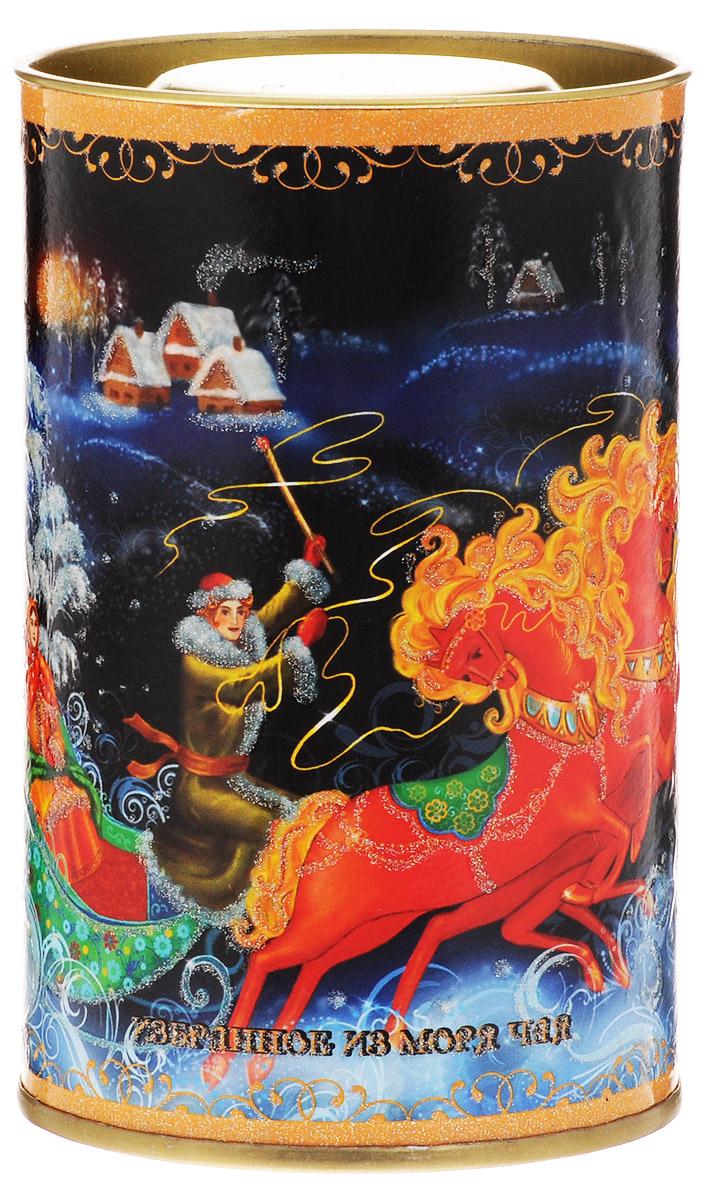 Избранное из моря чая Новый Год Палех Тройка чай черный листовой, 50 г4627106462677Картонная баночка в форме тубы из коллекции Подарочный чай к Новому году украшена изображением сюжета с глиттерным лаком. Содержит ассамский чай с флагманской плантации Нараянпур компании Лакшми Ти. Она расположена на севере провинции Ассам на холмах высотой около 300 метров. Этот район называют обителью бога Нараяна. Здесь выращивается лучший ассамский чай, который славится во всем мире своим ярким, насыщенным вкусом.