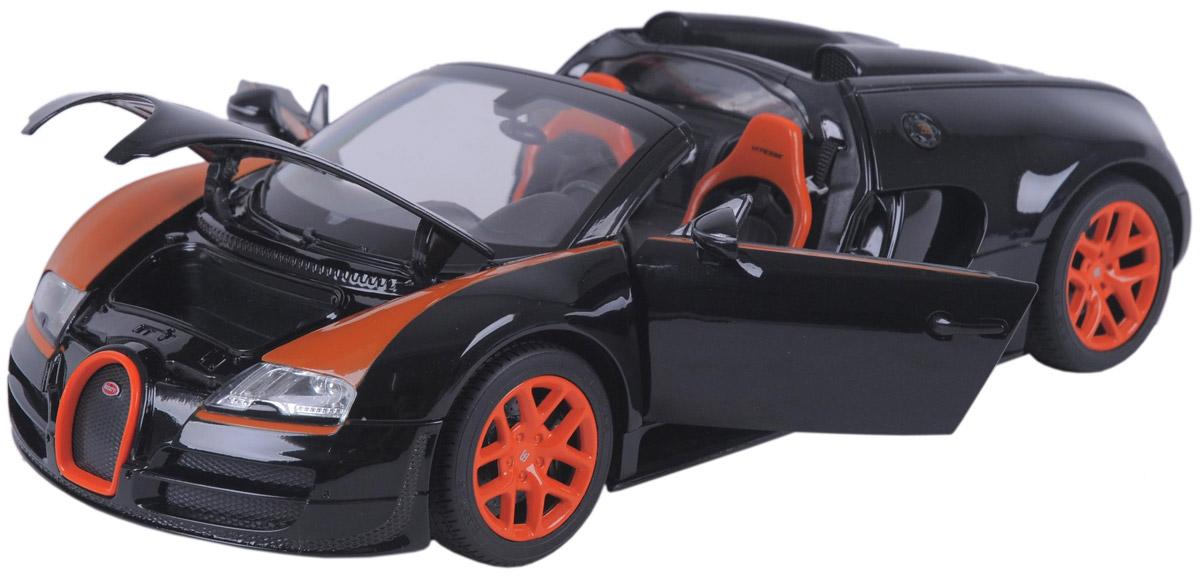 Rastar Модель автомобиля Bugatti Veyron 16.4 Grand Sport Vitesse цвет черный43900_черныйМодель автомобиля Rastar Bugatti Veyron 16.4 Grand Sport Vitesse привлечет внимание как ребенка, так и взрослого коллекционера. Машина является точной уменьшенной копией настоящего автомобиля в масштабе 1:18. Модель выполнена из металла с использованием пластика и оснащена резиновыми колесами, обеспечивающими хорошее сцепление с любой поверхностью пола. Колеса и руль вращаются, дверцы открываются. Модель автомобиля Rastar Bugatti Veyron 16.4 Grand Sport Vitesse станет отличным подарком и украшением любой коллекции!