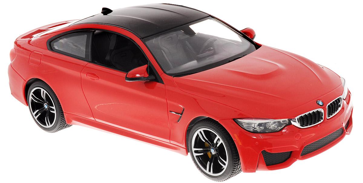 Rastar Радиоуправляемая модель BMW M4 Coupe цвет красный70900_красныйРадиоуправляемая модель Rastar BMW M4 Coupe обязательно привлечет внимание взрослого и ребенка и понравится любому, кто увлекается автомобилями. Корпус автомобиля выполнен из пластика с использованием металлических элементов, колеса - из резины. Маневренная и реалистичная уменьшенная копия выполнена в точной детализации с настоящим автомобилем в масштабе 1:14. Управление машинкой происходит с помощью пульта. Машина двигается вперед и назад, поворачивает направо, налево. Имеются световые эффекты. Колеса игрушки обеспечивают плавный ход, машинка не портит напольное покрытие. Радиоуправляемые игрушки способствуют развитию координации движений, моторики и ловкости. Ваш ребенок часами будет играть с моделью, придумывая различные истории и устраивая соревнования. Порадуйте его таким замечательным подарком! Модель автомобиля работает от 5 батареек напряжением 1,5V типа АА (не входят в комплект). Пульт управления работает от батарейки 9V типа Крона (не входит в...