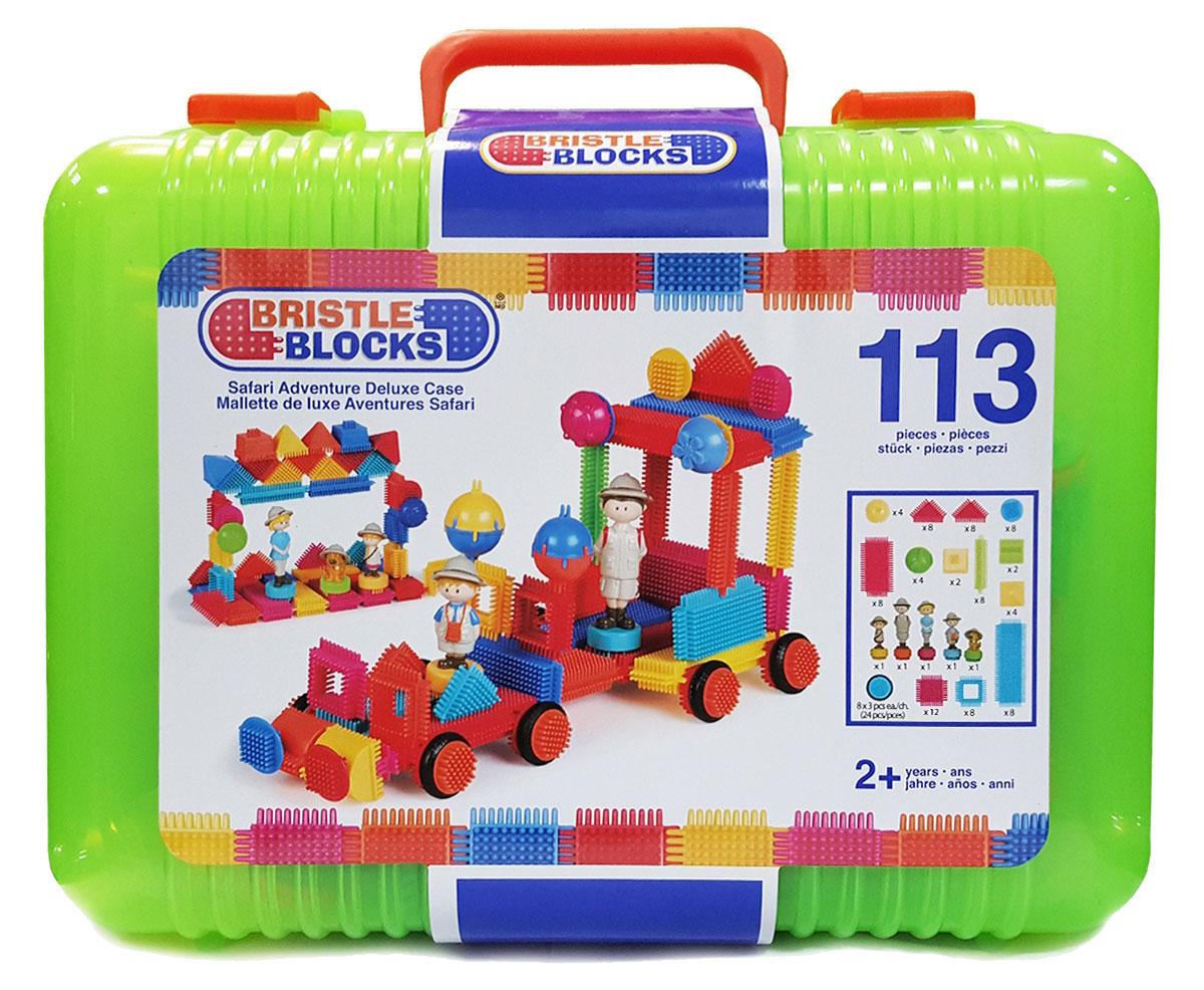 Bristle Blocks Конструктор Safari Adventure Deluxe Case68167Оригинальный игольчатый конструктор Bristle Blocks Safari Adventure Deluxe Case - тактильный детский конструктор, который позволит вашему ребенку проявить фантазию. Игрушки Bristle Blocks имеют неповторимый дизайн, максимально безопасны и надежны и, что не менее важно, обладают высоким развивающим потенциалом. Увлекательный конструктор состоит из множества ярких щетинистых блоков разной формы, размеров и цветов. Пластиковые элементы легко и быстро скрепляются, при этом обеспечивая прочное сцепление. Ваш ребенок будет часами сидеть за творческой работой, соединяя необычные игольчатые элементы в уникальные сооружения. А дополнительные фигурки помогут развернуть настоящий игровой сюжет. Комплект включает 104 игольчатых блока и 9 фигурок для сборки конструктора. Конструктор упакован в закрывающийся пластиковый чемоданчик с ручкой, удобный для хранения и переноски. Игольчатый конструктор Bristle Blocks Safari Adventure Deluxe Case поможет ребенку развить мелкую моторику...