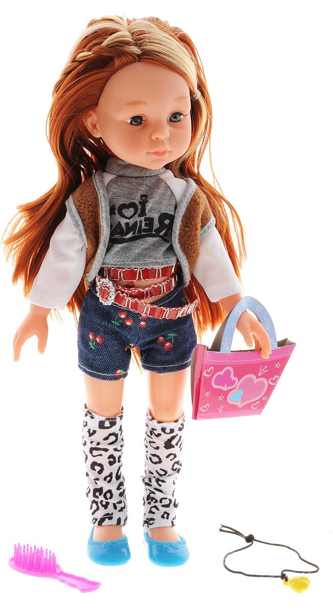 ABtoys Кукла Модница в шортахPT-00371_шортыОчаровательная кукла ABtoys Модница станет лучшей подружкой вашей малышки. Куколка одета в джинсовые шорты, стильную кофту и жилетку. На ногах куклы - бело-черные гетры и синие туфельки. Модный образ дополняет бордовый ремень с серебристой пряжкой. У куклы длинные темные волосы со светлыми прядками, которые можно расчесывать и заплетать из них различные прически. Вместе с куклой в набор входят расческа, картонная сумочка и ожерелье. Выразительный внешний вид и аккуратное исполнение куклы делает ее идеальным подарком для любой девочки. Порадуйте свою малышку таким великолепным подарком!