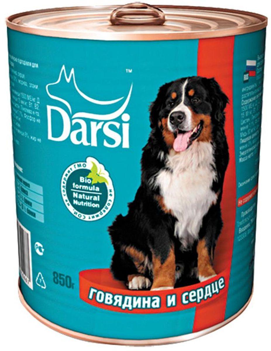 Консервы для собак Darsi, с говядиной и сердцем, 850 г. 0467-20467-2Полнорационный консервированный корм для собак в виде фарша.