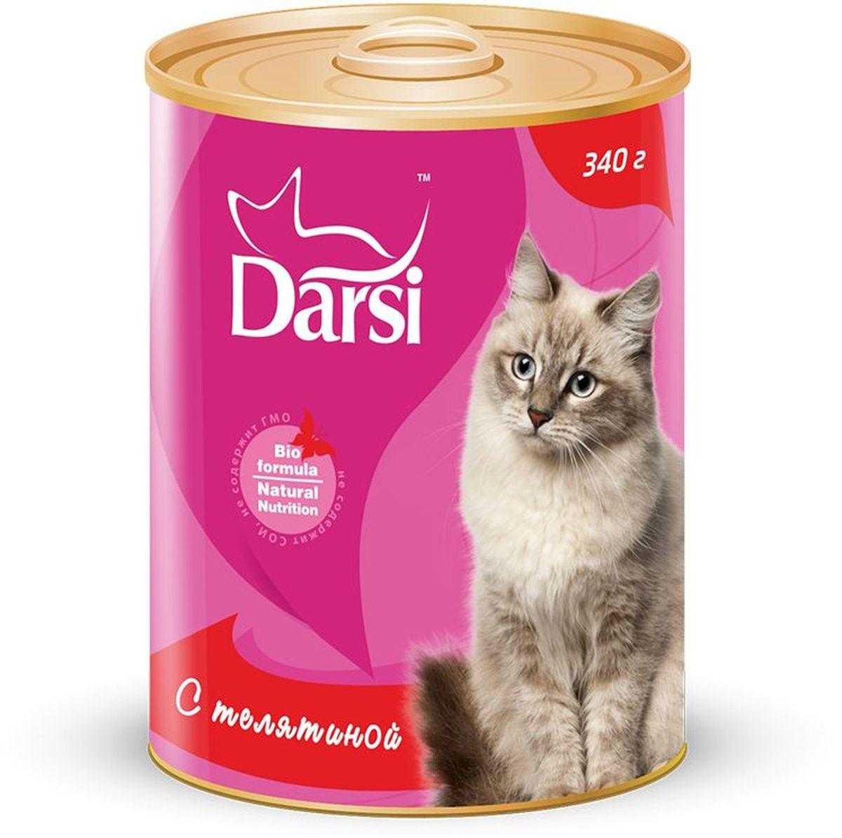 Консервы для кошек Darsi, с телятиной, 340 г. 92429242Полнорационный консервированный корм для кошек в виде фарша.