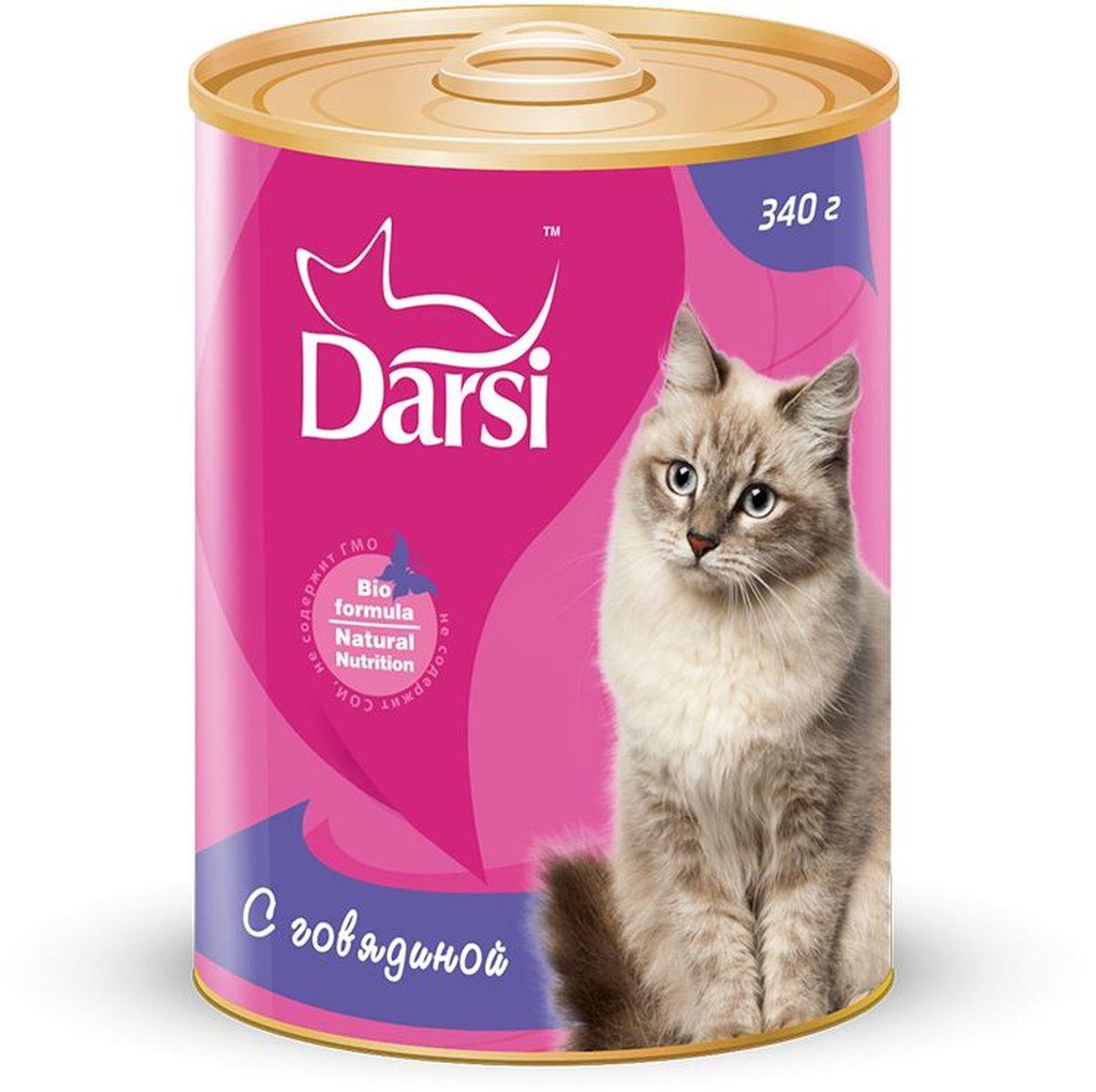 Консервы для кошек Darsi, с говядиной, 340 г. 92669266Полнорационный консервированный корм для кошек в виде фарша.