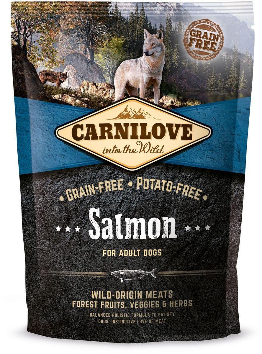 Корм сухой Carnilove, для собак, беззерновой, с лососем, 1,5 кг150826Сбалансированный полнорационный сухой беззерновой корм для взрослых собак всех пород. Cостав: мука из лосося (25%), филе лосося (20%), желтый горох (20%), мука из сельди (10%), куриный жир (консервирован токоферолами, 9%), куриная печень (3%), яблоки (3%), крахмал из тапиоки (3%), рыбий жир лососевый (3%), морковь (1%), льняное семя (1%), нут (1%), гидролизованные панцири ракообразных (источник глюкозамина, 0,026%), экстракт хряща (источник хондроитина, 0,016%), пивные дрожжи (источник маннан-олигосахаридов, 0,015%), корень цикория (источник фрукто-олигосахаридов, 0,01%), юкка шидигера (0,01%), водоросли (0,01%), псиллиум (0,01%), тимьян (0,01%), розмарин (0,01%), орегано (0,01%), клюква (0,0008%), голубика (0,0008%), малина (0,0008%).