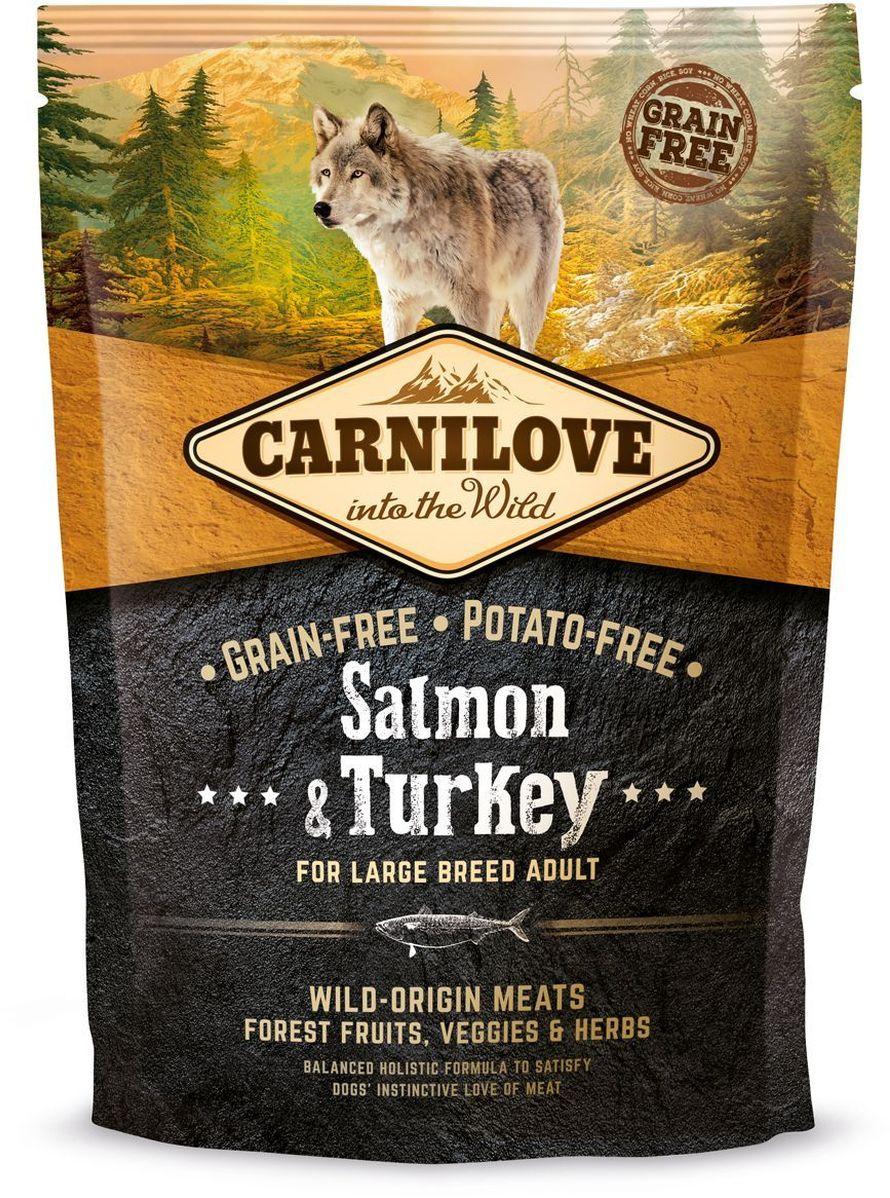 Корм сухой Carnilove, для собак крупных пород, беззерновой, с лососем, 1,5 кг150828Сбалансированный полнорационный сухой беззерновой корм для взрослых собак всех пород. Cостав: мука из лосося (25%), филе лосося (20%), желтый горох (20%), мука из сельди (10%), куриный жир (консервирован токоферолами, 9%), куриная печень (3%), яблоки (3%), крахмал из тапиоки (3%), рыбий жир лососевый (3%), морковь (1%), льняное семя (1%), нут (1%), гидролизованные панцири ракообразных (источник глюкозамина, 0,026%), экстракт хряща (источник хондроитина, 0,016%), пивные дрожжи (источник маннан-олигосахаридов, 0,015%), корень цикория (источник фрукто-олигосахаридов, 0,01%), юкка шидигера (0,01%), водоросли (0,01%), псиллиум (0,01%), тимьян (0,01%), розмарин (0,01%), орегано (0,01%), клюква (0,0008%), голубика (0,0008%), малина (0,0008%).