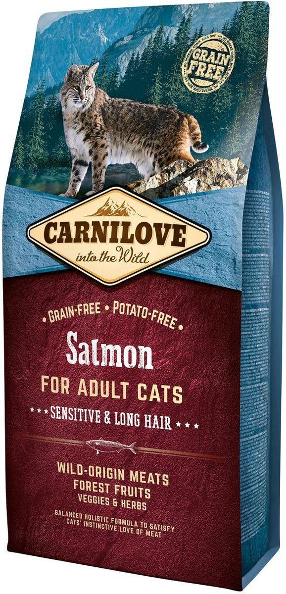 Корм сухой Carnilove, для кошек, беззерновой, с лососем, 6 кг512270Полнорационный беззерновой корм Carnilove с лососем для взрослых кошек – чувствительность и длинная шерсть формула без злаков и картофеля для взрослых кошек с чувствительным пищеварением и длинношерстных кошек Состав: мука из лосося (30%), желтый горох (17%), филе лосося (16%), мука из сельди (14%), куриный жир (консервирован токоферолами, 9%), куриная печень (3%), рыбий жир лососевых рыб (3%), крахмал из тапиоки (2%), яблоки (2%), морковь (1%), льняное семя (1%), нут (1%), гидролизованные раковины ракообразных (источник глюкозамина, 0.026%), экстракт хряща (источник хондроитина, 0.016%), пивные дрожжи (источник маннанолигосахаридов, 0.016%), корень цикория (источник фруктоолигосахаридов, 0.012%), юкка шидигера (0.01%), водоросли (0.01%), подорожник (0.01%), тимьян (0.01%), розмарин (0.01%), орегано (0.01%), клюква (0.0008%), голубика (0.0008%), малина (0.0008%).