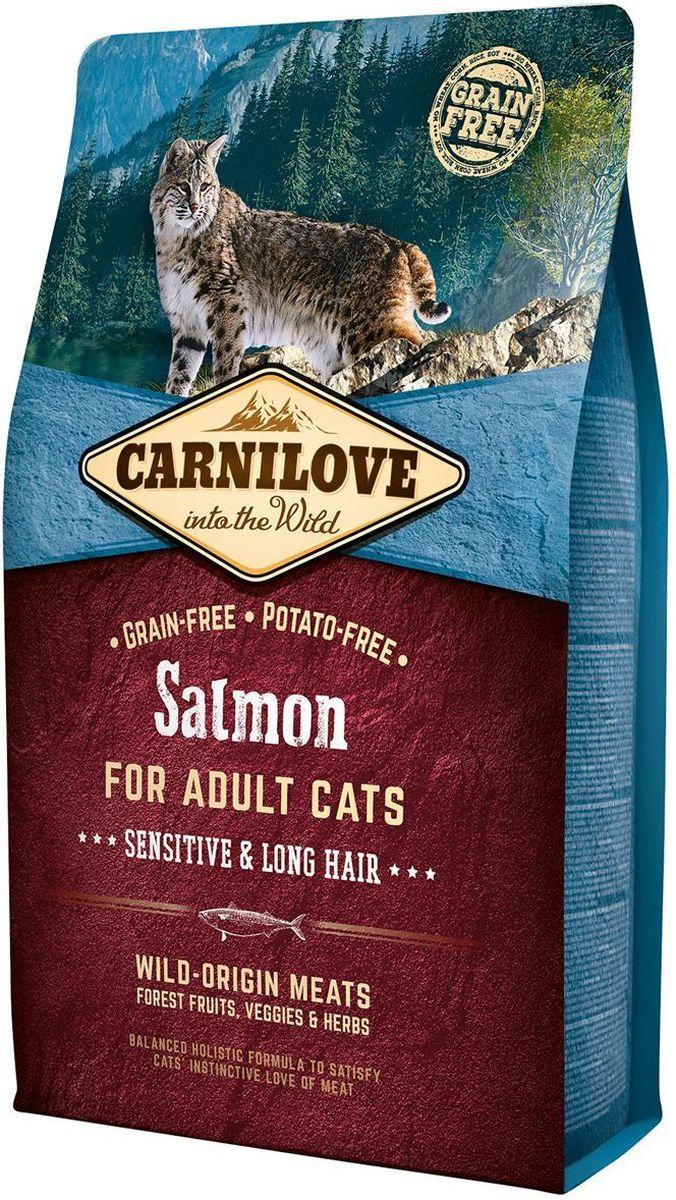 Корм сухой Carnilove, для кошек, беззерновой, с лососем, 2 кг512287Полнорационный беззерновой корм Carnilove с лососем для взрослых кошек – чувствительность и длинная шерсть формула без злаков и картофеля для взрослых кошек с чувствительным пищеварением и длинношерстных кошек Состав: мука из лосося (30%), желтый горох (17%), филе лосося (16%), мука из сельди (14%), куриный жир (консервирован токоферолами, 9%), куриная печень (3%), рыбий жир лососевых рыб (3%), крахмал из тапиоки (2%), яблоки (2%), морковь (1%), льняное семя (1%), нут (1%), гидролизованные раковины ракообразных (источник глюкозамина, 0.026%), экстракт хряща (источник хондроитина, 0.016%), пивные дрожжи (источник маннанолигосахаридов, 0.016%), корень цикория (источник фруктоолигосахаридов, 0.012%), юкка шидигера (0.01%), водоросли (0.01%), подорожник (0.01%), тимьян (0.01%), розмарин (0.01%), орегано (0.01%), клюква (0.0008%), голубика (0.0008%), малина (0.0008%).