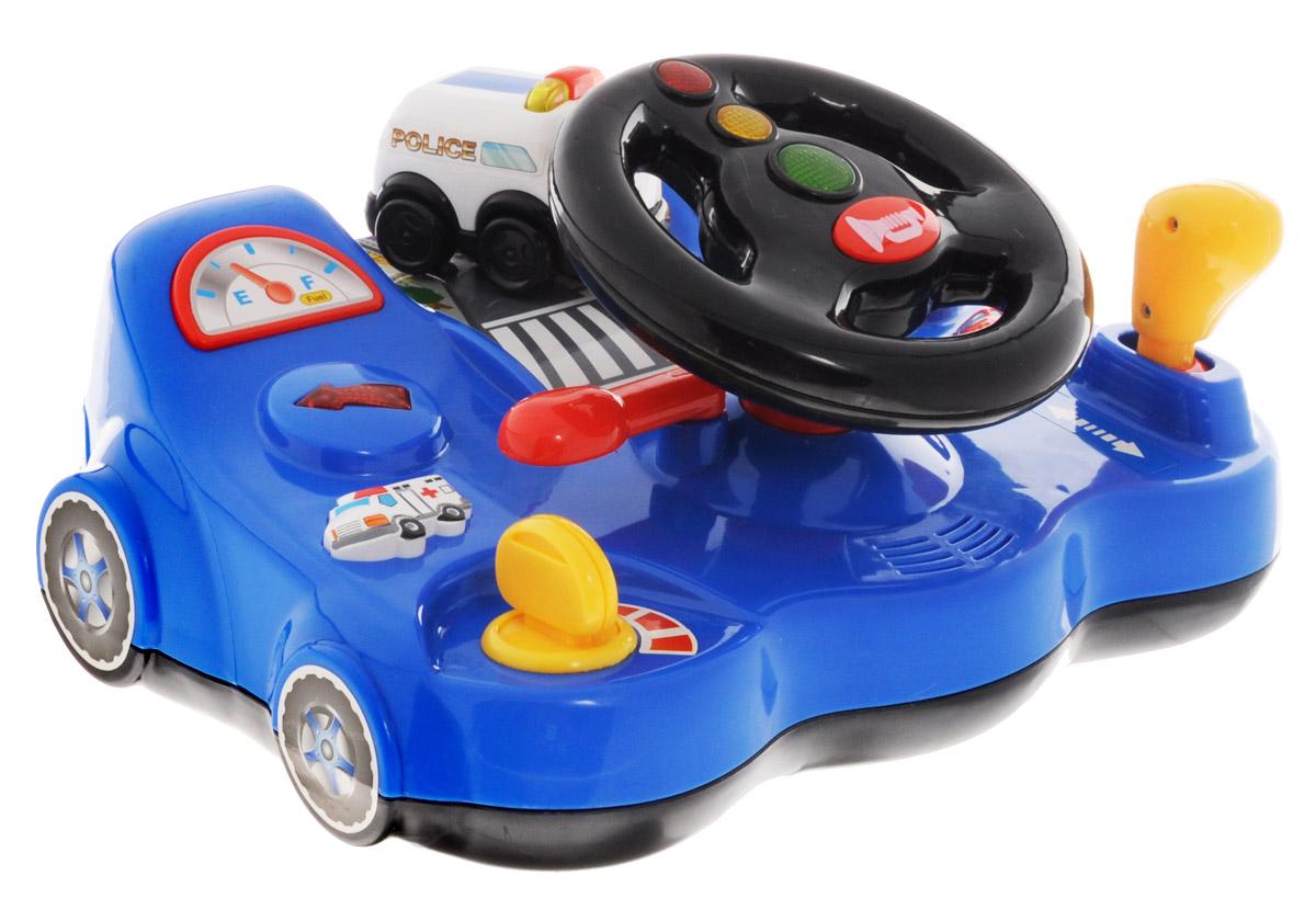 Kiddieland Развивающая игрушка ВодительKID 053421Развивающая игрушка Kiddieland Водитель непременно понравится маленькому автолюбителю. Игрушка представляет собой водительский тренажер с рулем и кнопками в виде машинок, рычагом переключения скоростей. Повернув ключ зажигания, малыш услышит звук работающего двигателя. При нажатии на машинки будут играть мелодии и зажигаться огни сигнального оборудования. Такой развивающий центр будет чудесным подарком для любознательного малыша. Игра способствует развитию познавательной активности, представлений о предметах и явлениях окружающего мира, способствует развитию наглядно-действенного мышления. Рекомендуется докупить 3 батарейки напряжением 1,5V типа АА (товар комплектуется демонстрационными).