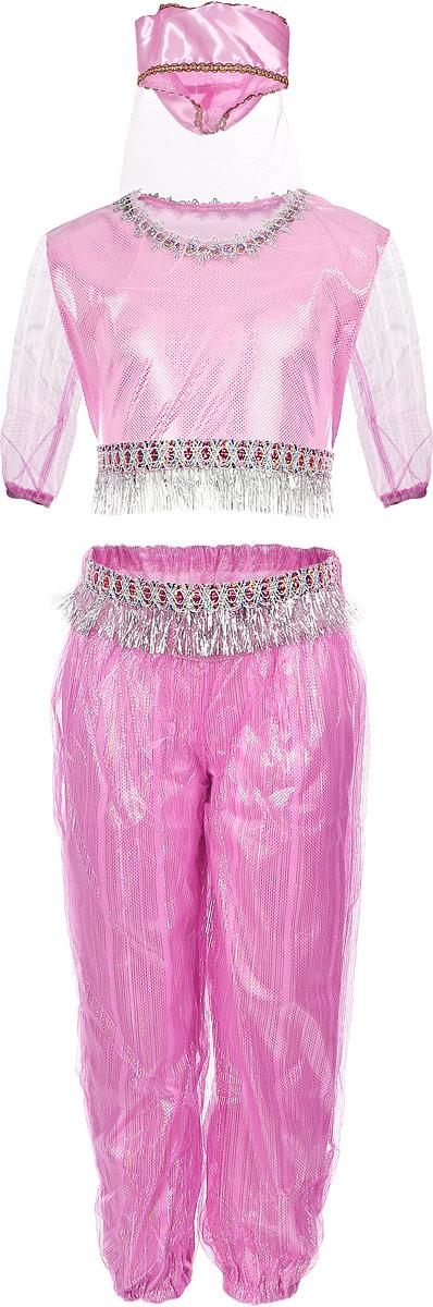 Карнавалия Карнавальный костюм для девочки Шахерезада цвет розовый размер 11085237Яркий детский карнавальный костюм Шахерезада тонко и изысканно выделит вашу девочку на детском утреннике, бале-маскараде или карнавале. Добрый и положительный персонаж, из любимой сказки, может вызывать только положительные эмоции. Карнавальный костюм состоит из блузы, шаровар и головного убора с вуалью. Красивые шаровары выполнены из ткани с люрексом и на поясе декорированы блестящей тесьмой с бахромой. Блуза с длинными прозрачными рукавами дополнена тесьмой как на шароварах. Дополнит сказочный образ шикарный головной убор с вуалью. Если ваша дочурка любит волшебство и мечтает хоть на минутку превратиться в очаровательную Шахерезаду, этот шикарный карнавальный костюм поможет вам сделать ребенку поистине сказочный подарок! Веселое настроение и масса положительных эмоций будут обеспечены! Ткань: 100% полиэстер. Костюм рассчитан на рост ребенка 110 см.