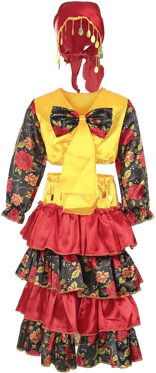 Карнавалия Карнавальный костюм для девочки Цыганка размер 11085246Яркий детский карнавальный костюм Цыганка позволит вашей малышке быть самой красивой девочкой на детском утреннике, бале-маскараде или карнавале. Костюм состоит из косынки, топика и юбки. Топик с длинными рукавами спереди декорирован оригинальным бантом. Юбка состоит из ярких пышных воланов и сверху дополнена блестящими подвесками из бисера. Такой карнавальный костюм привлечет внимание друзей вашей малышки и подчеркнет её индивидуальность. Веселое настроение и масса положительных эмоций будут обеспечены! Ткань: 100% полиэстер. Костюм рассчитан на рост ребенка 110 см.