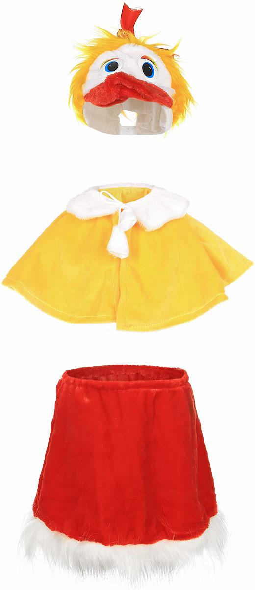 Карнавалия Карнавальный костюм для девочки Уточка размер 12289058Яркий детский карнавальный костюм Уточка позволит вашей малышке быть самой красивой девочкой на детском утреннике, бале-маскараде или карнавале. Костюм состоит из юбки, накидки и шапочки. Юбочка красного цвета изготовлена из ворсовой ткани с белой отделкой по низу. Юбочка на удобной резинке. Желтая накидка на плечи дополнена белым воротничком и завязывается на шнурочки. Шапочка выполнена в виде головы уточки - с пластиковыми глазками и текстильным красным клювом. Сверху шапочка декорирована красным бантиком, сзади у неё - резинка. Такой карнавальный костюм привлечет внимание друзей вашей малышки и подчеркнет её индивидуальность. Веселое настроение и масса положительных эмоций будут обеспечены! Ткань: 100% полиэстер. Костюм рассчитан на рост ребенка 122 см.