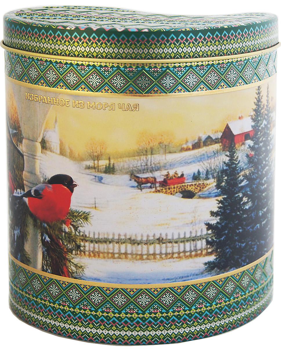 Избранное из моря чая Новый Год Зимний узор. Снегирь на закате чай зеленый листовой, 75 г1165Жестяная баночка в форме капли из коллекции Зимний узор покрыта матовым лаком. Она содержит зеленый листовой чай, в состав которого входят только самые молодые и лучшие листочки чайного куста. Поэтому этот чай имеет особый мягкий сладковатый вкус и аромат настоящего зеленого чая и оказывает благотворное влияние на организм. Напиток упакован в пачки из фольги в Шри-Ланке сразу после сбора урожая, в период созревания чая, когда он наполнен полезными веществами и эфирными маслами. Знак в виде Льва с 17 пятнышками на шкуре - это гарантия Бюро Цейлонского Чая на соответствие чая высокому стандарту качества, установленному правительством и упакованному только в пределах Шри-Ланки.