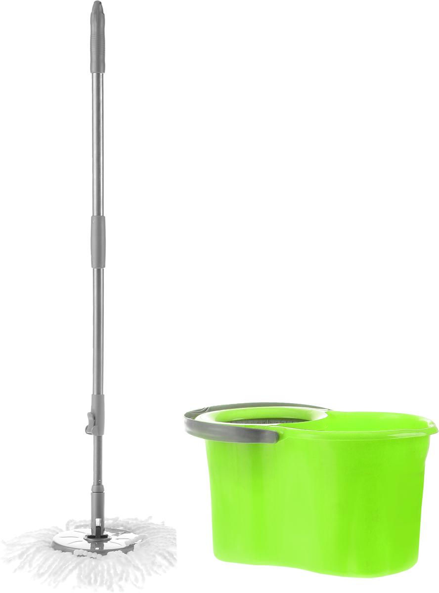 Набор для уборки Magnolia Home: ведро с отжимом, швабра, цвет: серый, зеленый4001Набор для уборки Magnolia Home состоит из ведра с отжимом и швабры Мастер Моп. Моп изготовлен из специального материала, который отличается хорошей впитывающей способностью и прочностью. Полоски превосходно впитывают воду и грязь, идеальны для мытья пола из керамической плитки и пола с деревянным покрытием. Благодаря специальной поглощающей структуре швабра не оставит разводов и обеспечит превосходную чистоту. Изделие легко промывается в воде. Рукоятка изготовлена из металла с пластиковыми вставками. Снабжена отверстием для подвеса. Имеет стандартную резьбу, подходящую к большинству видов насадок. Ведро изготовлено из прочного пластика. Изделие имеет специальный носик, позволяющий удобно выливать жидкость. Для переноски предусмотрена прочная ручка. Яркий красивый многофункциональный набор для уборки дома. Длина полосок швабры: 12 см. Длина рукоятки: 110 см. Объем ведра: 19 л. Размер ведра: 48 см х 29 см х 26 см.
