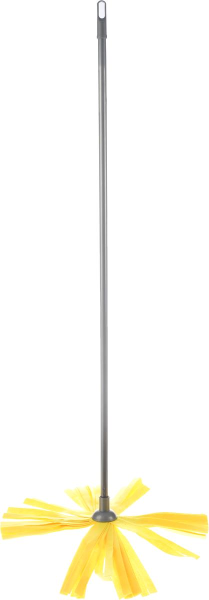 Швабра Home Queen, цвет: серый, желтый, длина 119 см57192Швабра Home Queen, выполненная из полиэстера, вискозы, полипропилена и металла, идеально подходит для мытья всех типов напольных поверхностей: паркет, ламинат, линолеум, кафельная плитка. Материал насадки - полиэстер с вискозой обладает высокой износостойкостью, не царапает поверхности и отлично впитывает влагу. Насадку можно стирать вручную с мягким моющим средством без использования кондиционера и отбеливателя, при температуре 30°-40°С без кипячения. Длина ручки: 119 см. Длина насадки: 23 см.