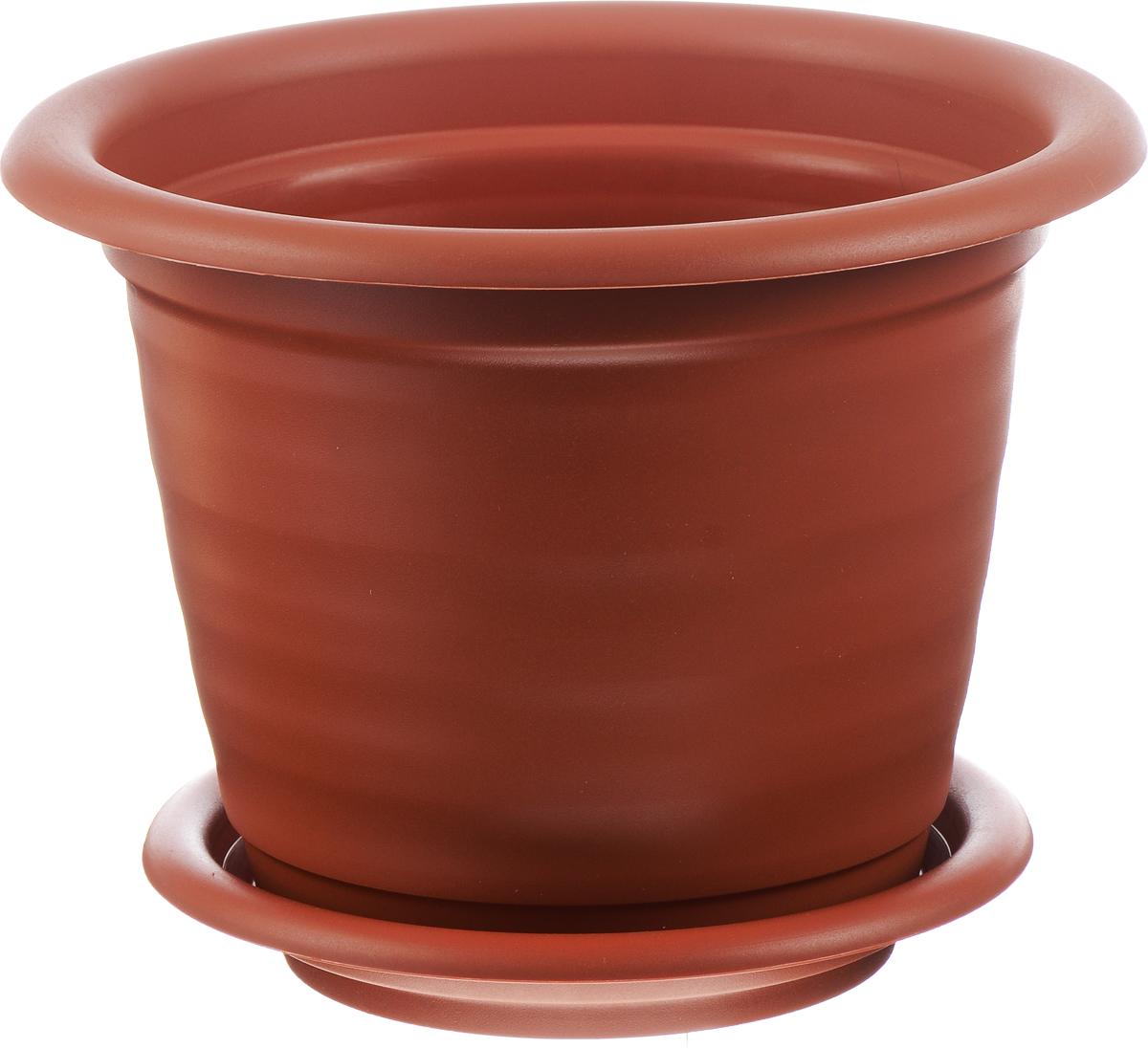 Кашпо Idea Ламела, с поддоном, цвет: терракотовый, 12 лМ 8205Кашпо Idea Ламела изготовлено из высококачественного пластика. Специальный поддон предназначен для стока воды. Изделие прекрасно подходит для выращивания растений и цветов в домашних условиях. Лаконичный дизайн впишется в интерьер любого помещения. Диаметр поддона: 28 см. Объем кашпо: 12 л. Диаметр кашпо по верхнему краю: 33 см.