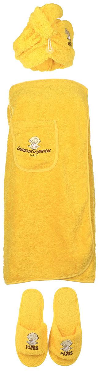 Набор для бани и сауны Karna Paris, цвет: желтый, белый, коричневый, 3 предмета325/CHAR009Оригинальный набор для бани Karna Paris включает в себя чалму, парео и тапочки. Изделия выполнены из 100% хлопка, декорированы вышитым рисунком и надписью. Чалма, парео и тапочки - это незаменимые аксессуары для любителей попариться в русской бане и для тех, кто предпочитает сухой жар финской бани. Чалма защитит волосы от сухости и ломкости, голову от перегрева и предотвратит появление головокружения. Тапочки обезопасят ваши ноги. Парео выполнено из хлопка, посажено на резинку и застегивается с помощью липучки. Его можно использовать как коврик для бани или полотенце. На изделии имеется карман. Такой набор поможет с удовольствием и пользой провести время в бане, а также станет чудесным подарком друзьям и знакомым, которые по достоинству его оценят при первом же использовании. Рекомендуется стирка при температуре 40°С. Размер парео: 154 х 71 см. Размер чалмы: 58 х 26 см. Размер подошвы тапочек: 28 х 10 см.