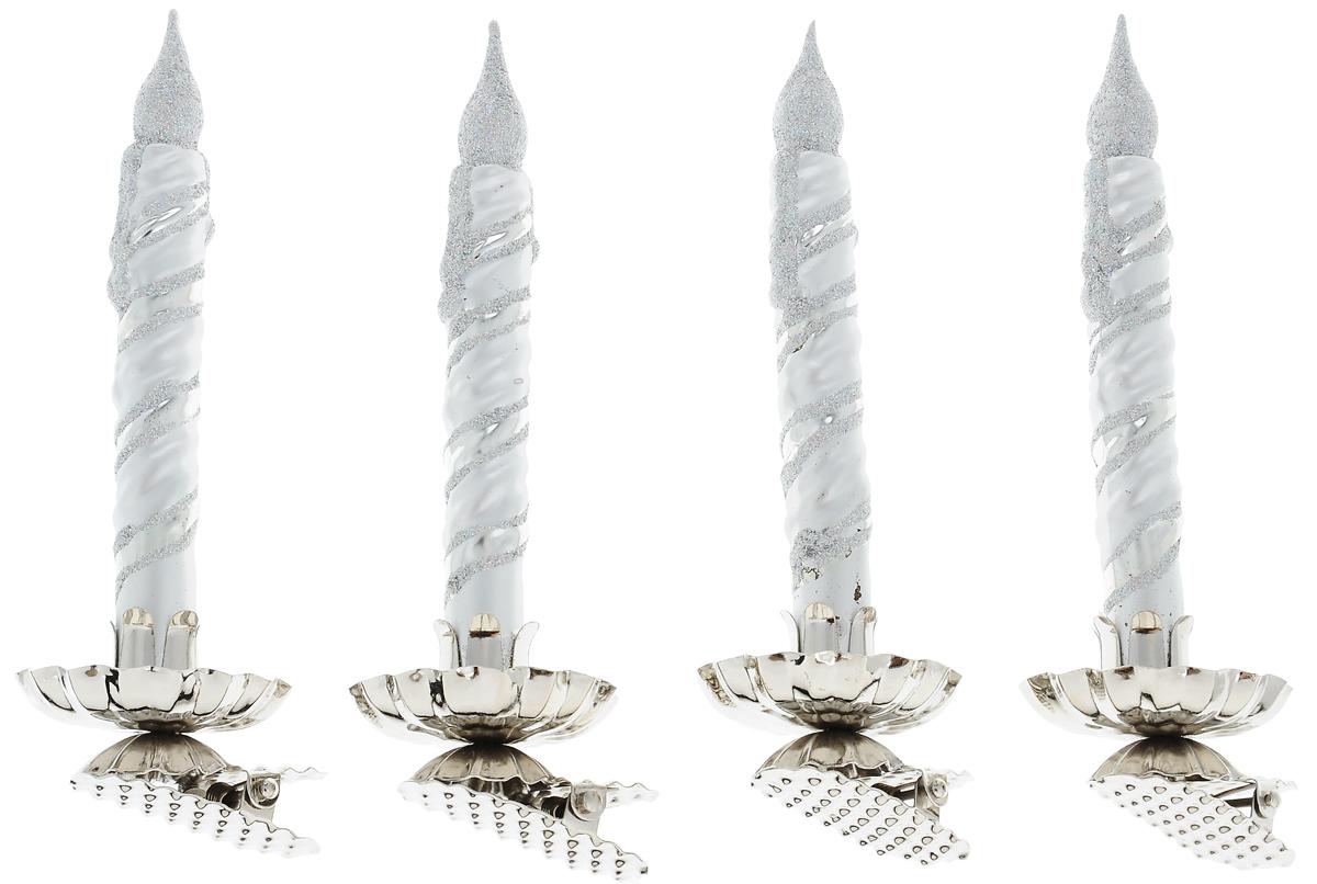 Украшение новогоднее подвесное Winter Wings Свечка, высота 14 см, 4 штN07639Новогоднее подвесное украшение Winter Wings Свечка выполнено из стекла в виде свечи и украшено блестками. С помощью специальной прищепки украшение можно повесить в любом понравившемся вам месте. Но, конечно, удачнее всего оно будет смотреться на праздничной елке. Елочная игрушка - символ Нового года. Она несет в себе волшебство и красоту праздника. Создайте в своем доме атмосферу веселья и радости, украшая новогоднюю елку нарядными игрушками, которые будут из года в год накапливать теплоту воспоминаний. Размер одного украшения: 14 х 4 х 5 см